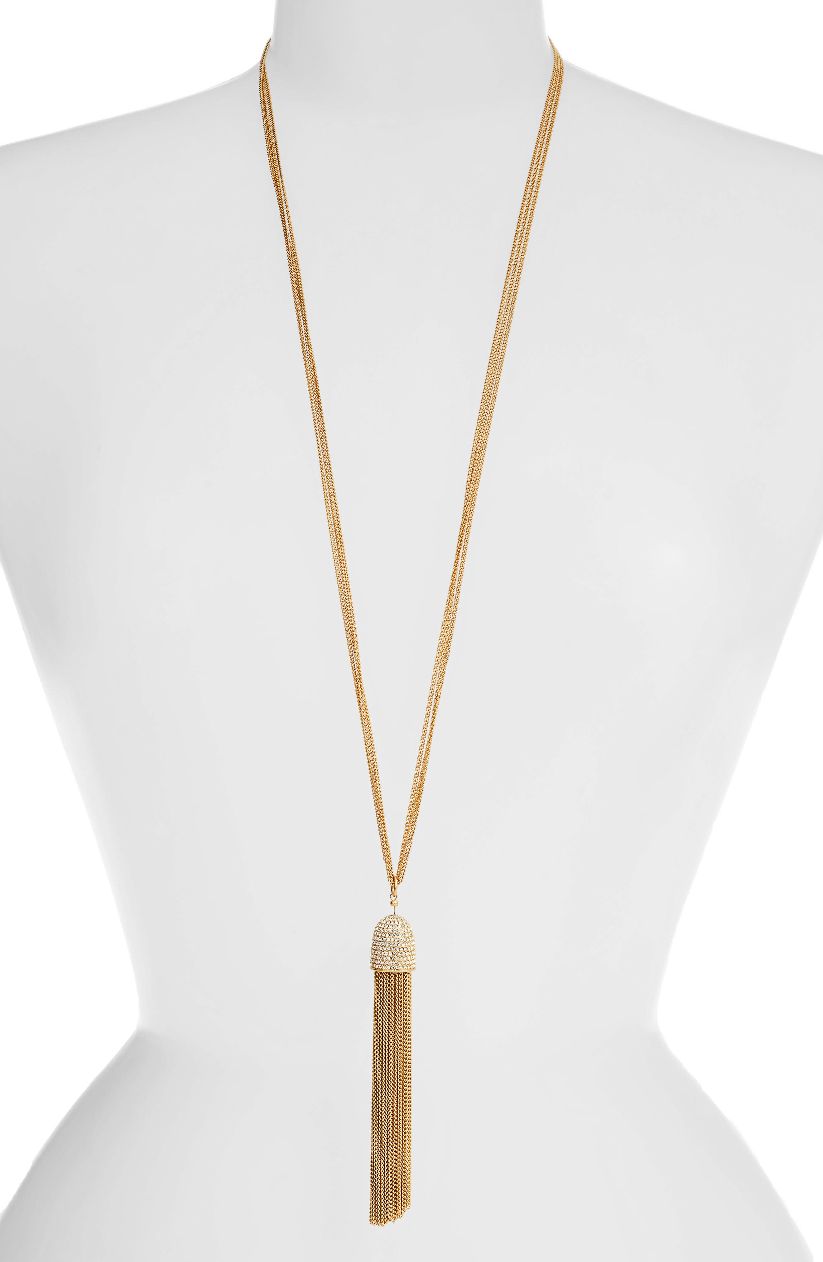 glimmer shimmer tassel pendant necklace, Main, color, CLEAR/ GOLD