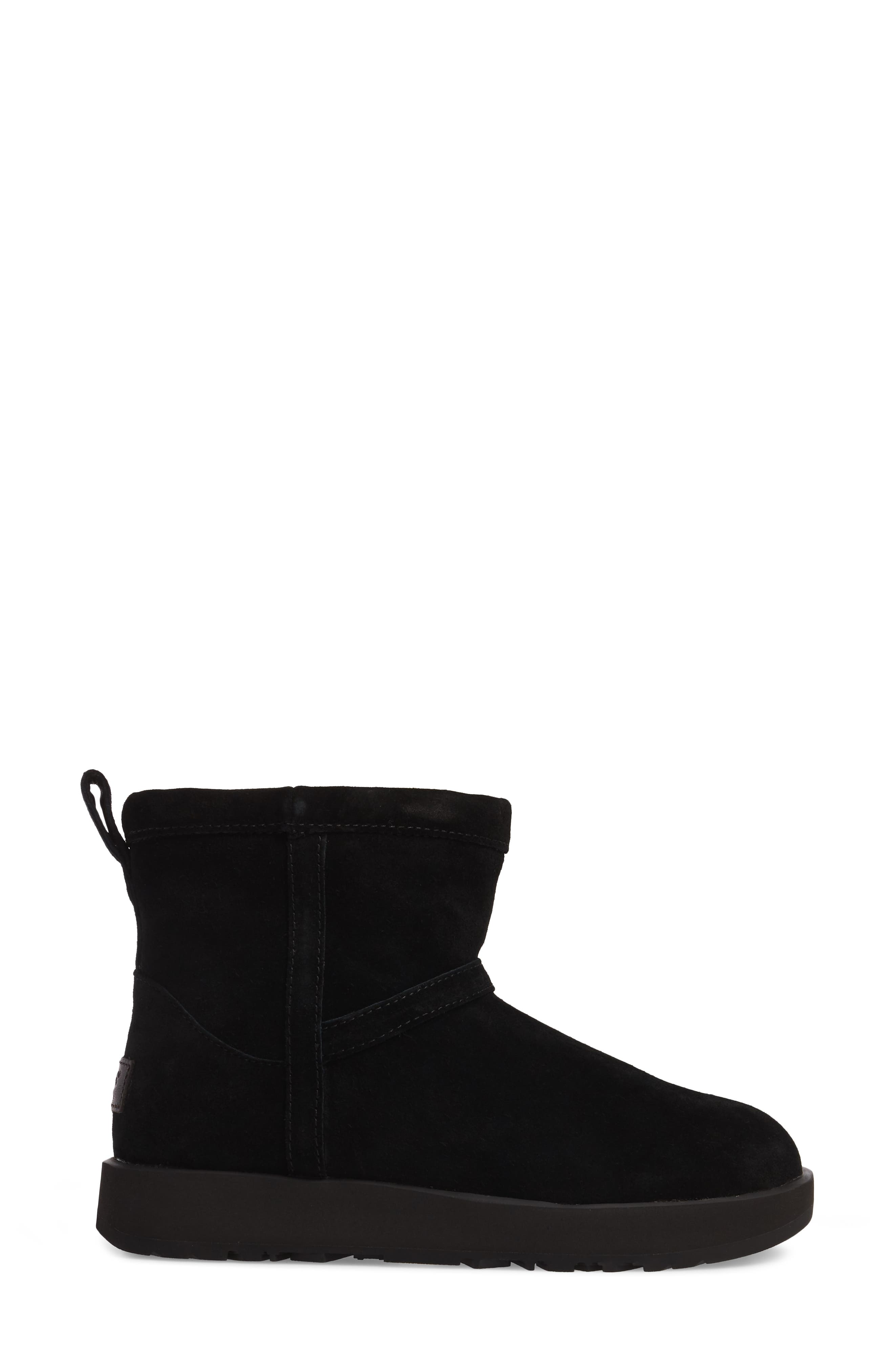 UGG<SUP>®</SUP>,                             Classic Mini Waterproof Boot,                             Alternate thumbnail 3, color,                             BLACK SUEDE