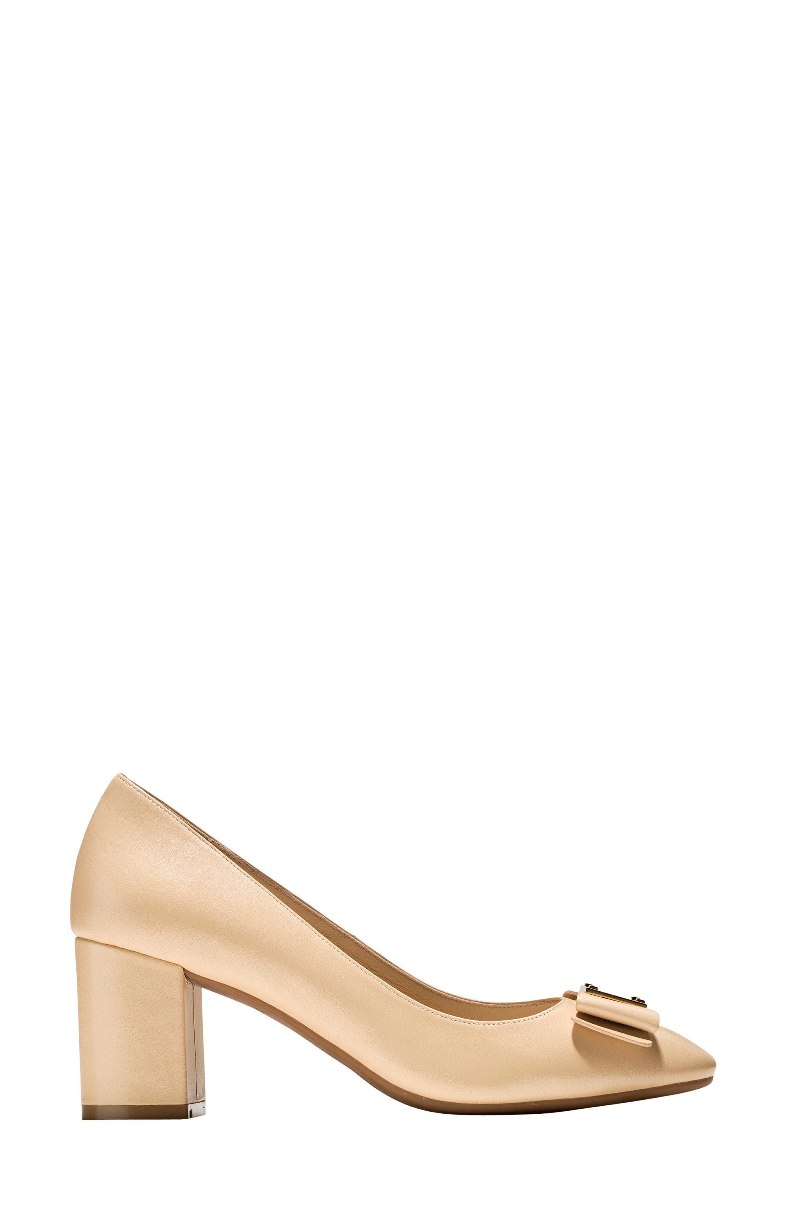 Tali Bow Pump,                             Alternate thumbnail 3, color,                             NUDE LEATHER