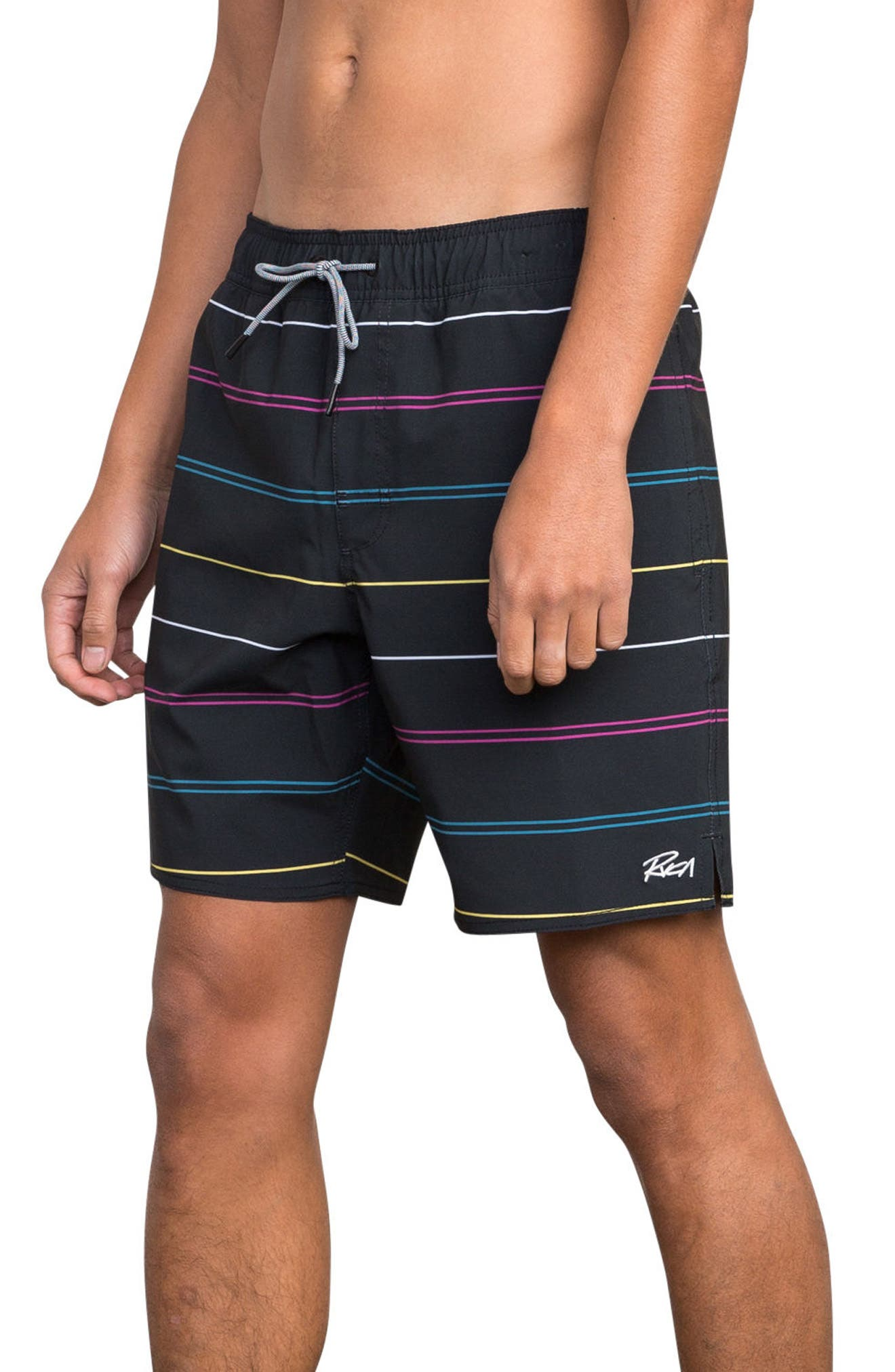 Middle Elastic Swim Trunks,                             Alternate thumbnail 3, color,                             008