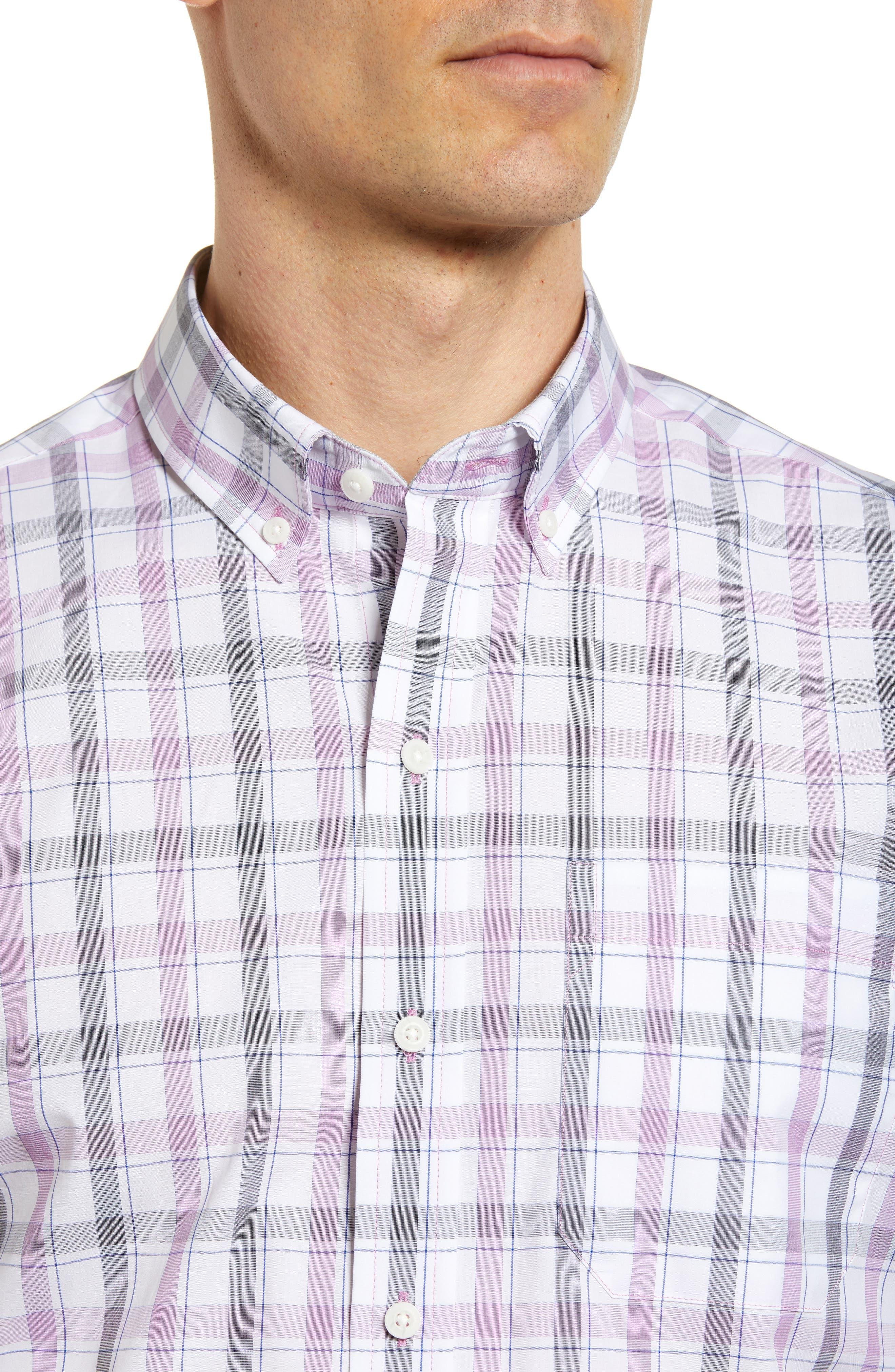 Griffen Non-Iron Plaid Sport Shirt,                             Alternate thumbnail 4, color,