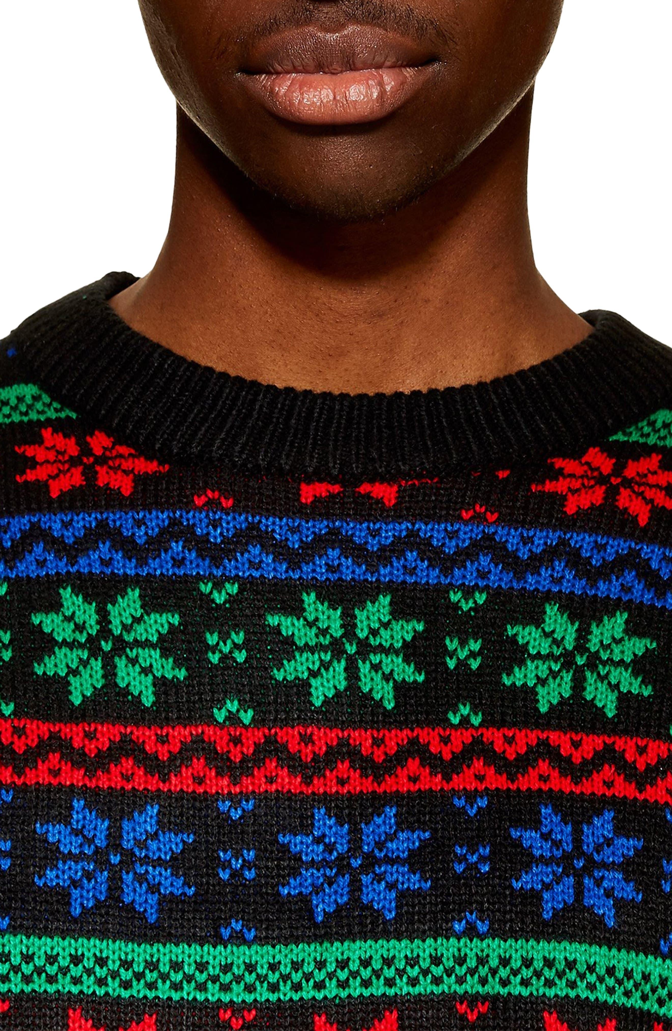 Snowflake Sweater,                             Alternate thumbnail 3, color,                             BLACK MULTI