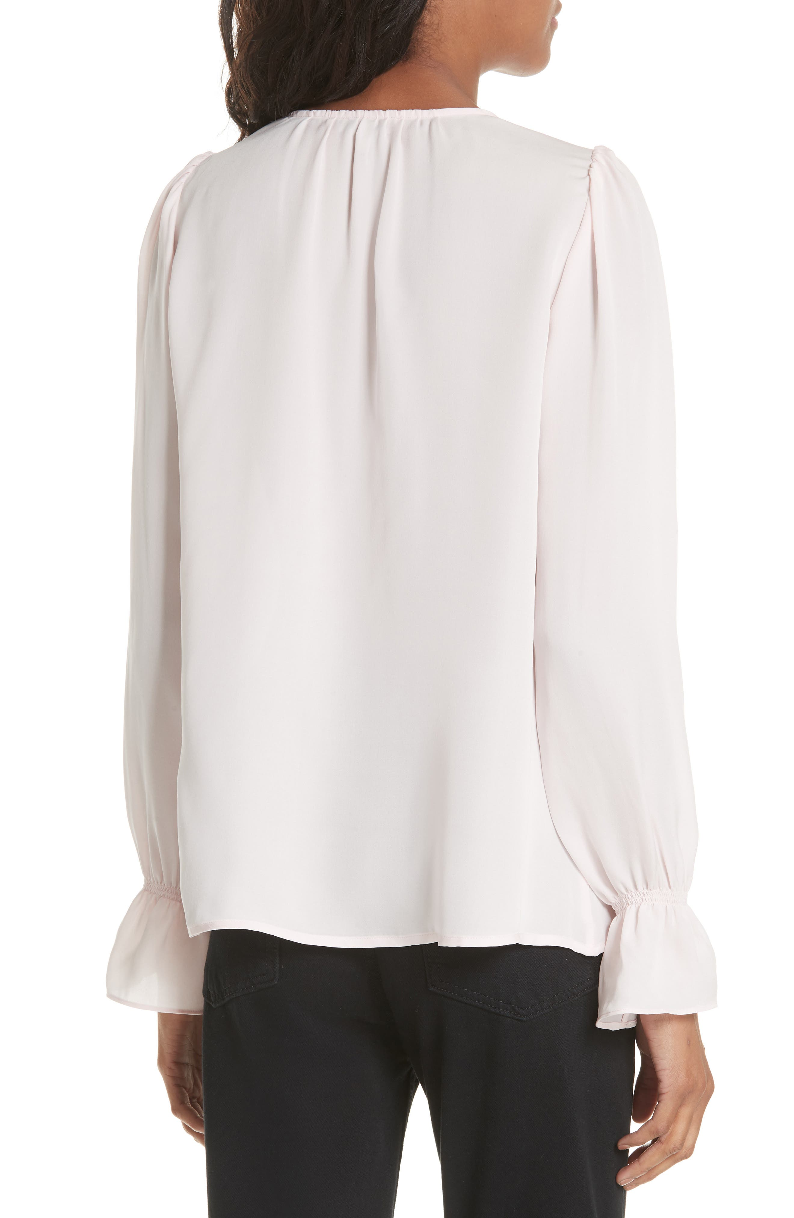 Bolona Silk Gathered Sleeve Top,                             Alternate thumbnail 2, color,                             ROSEWATER