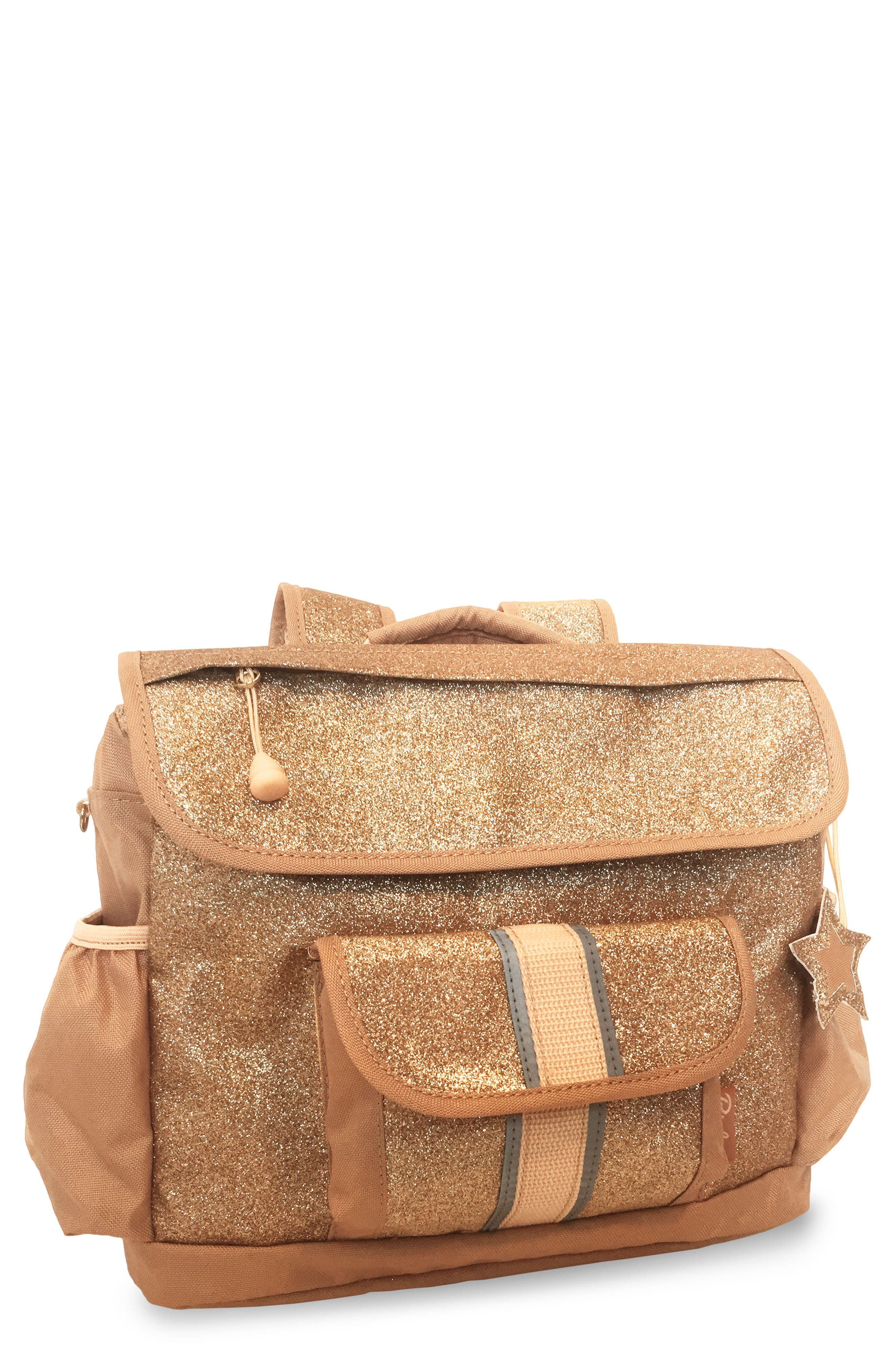 Gold Sparkalicious Water Resistant Backpack,                             Main thumbnail 1, color,                             710