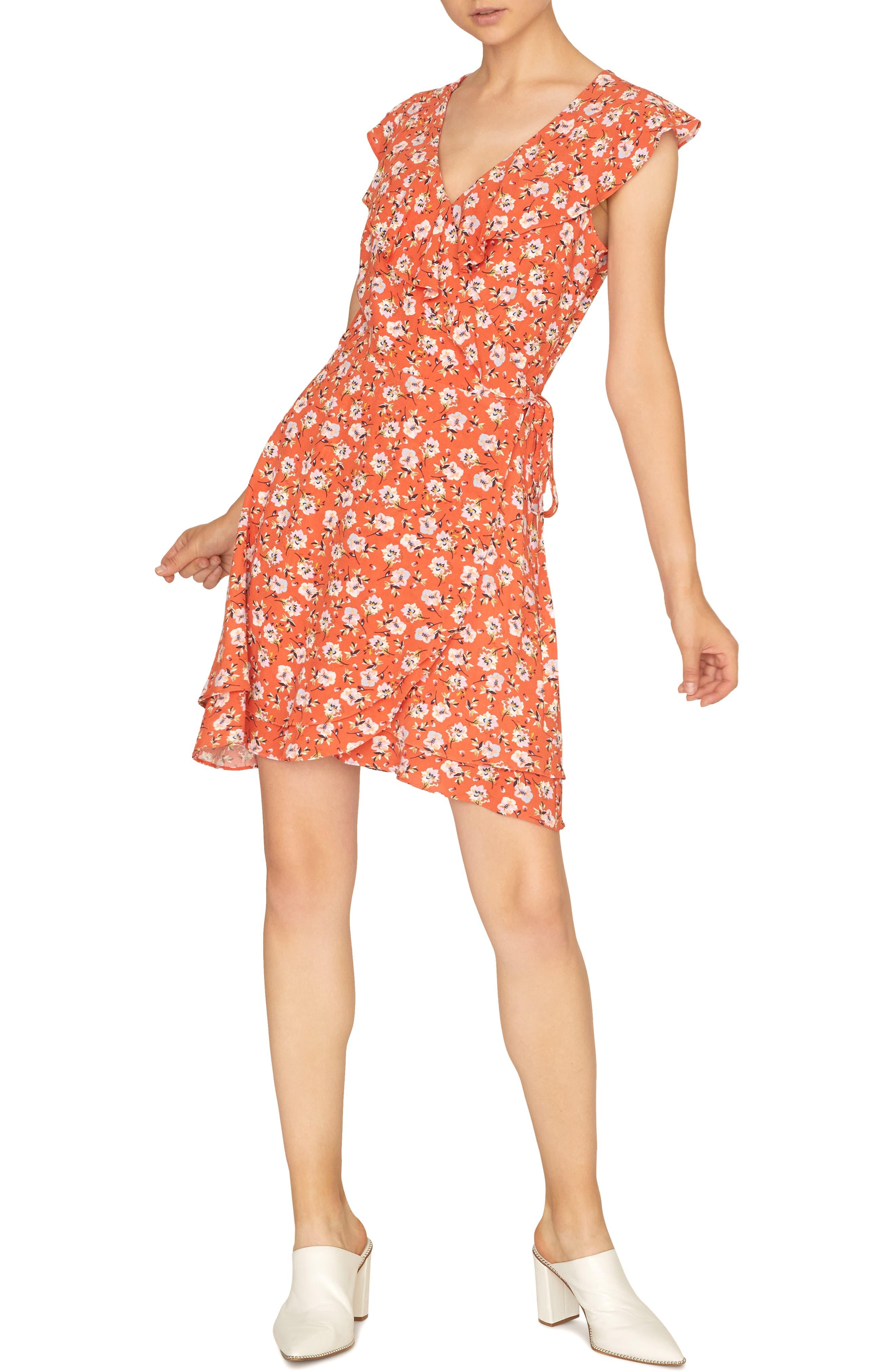 women's sanctuary johanna wrap dress, size xx-large - orange
