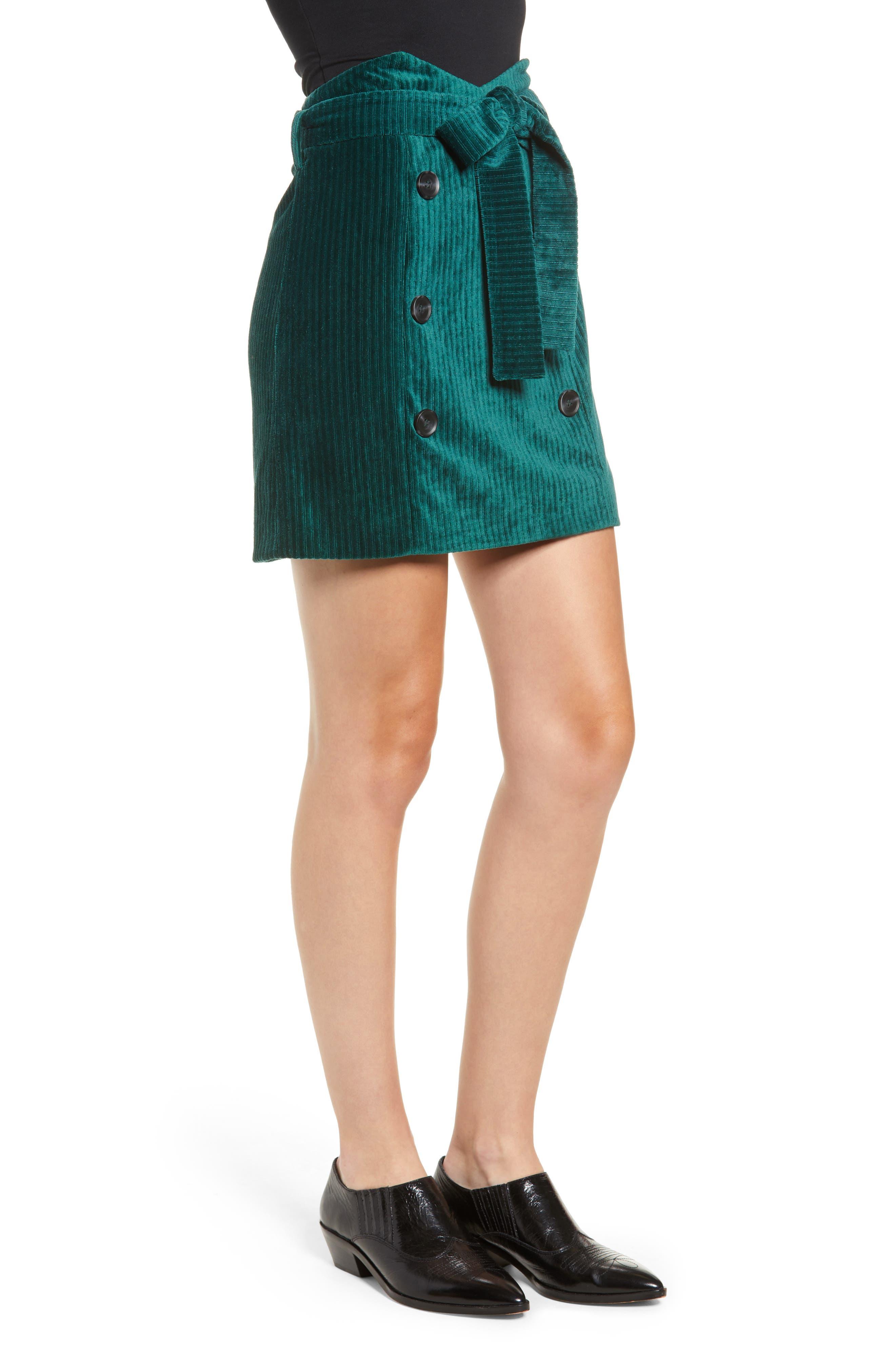 Velour Tie Waist Skirt,                             Alternate thumbnail 3, color,                             PINE