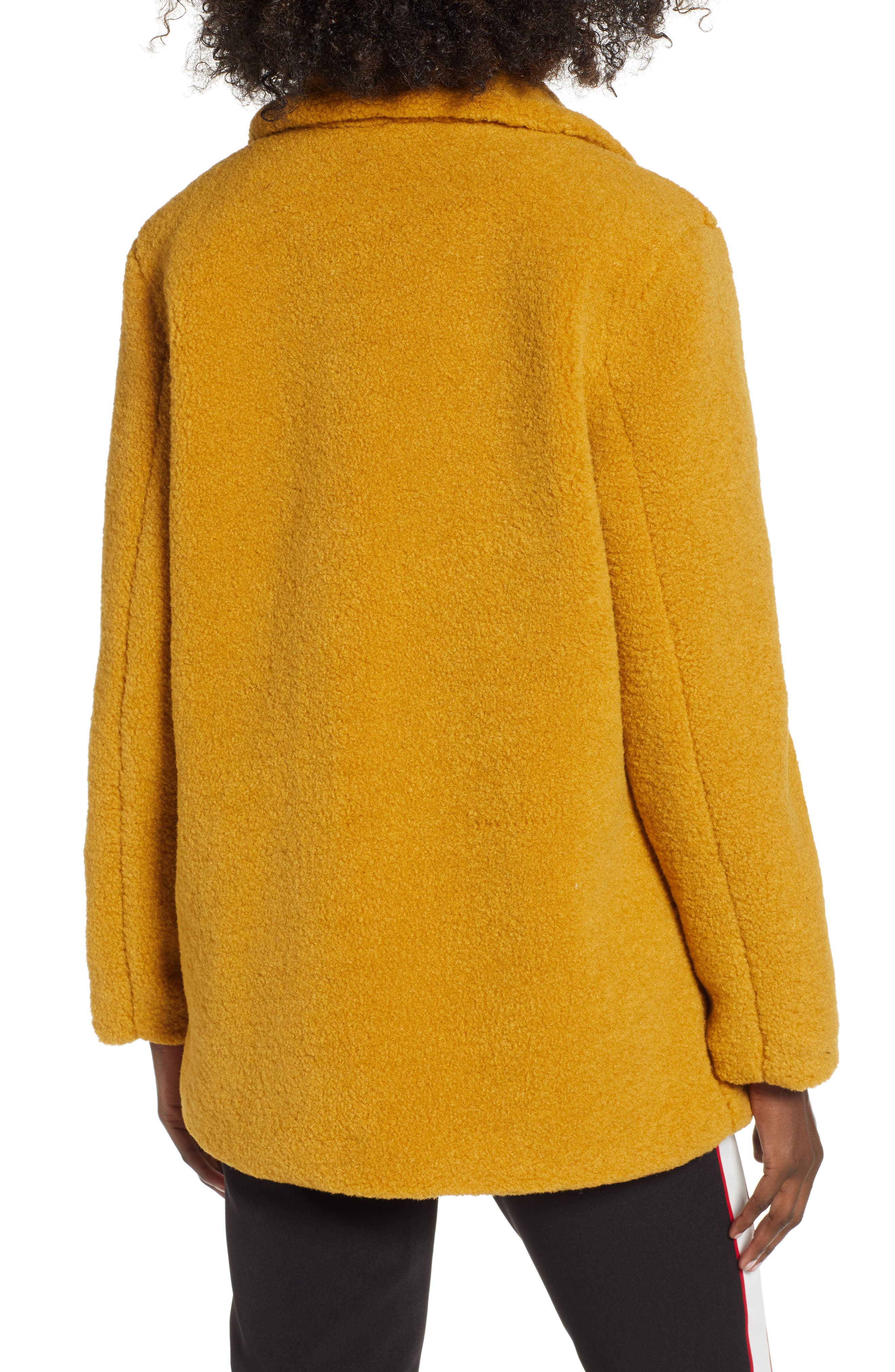 Textured Double Breasted Coat,                             Alternate thumbnail 2, color,                             YELLOW MINERAL