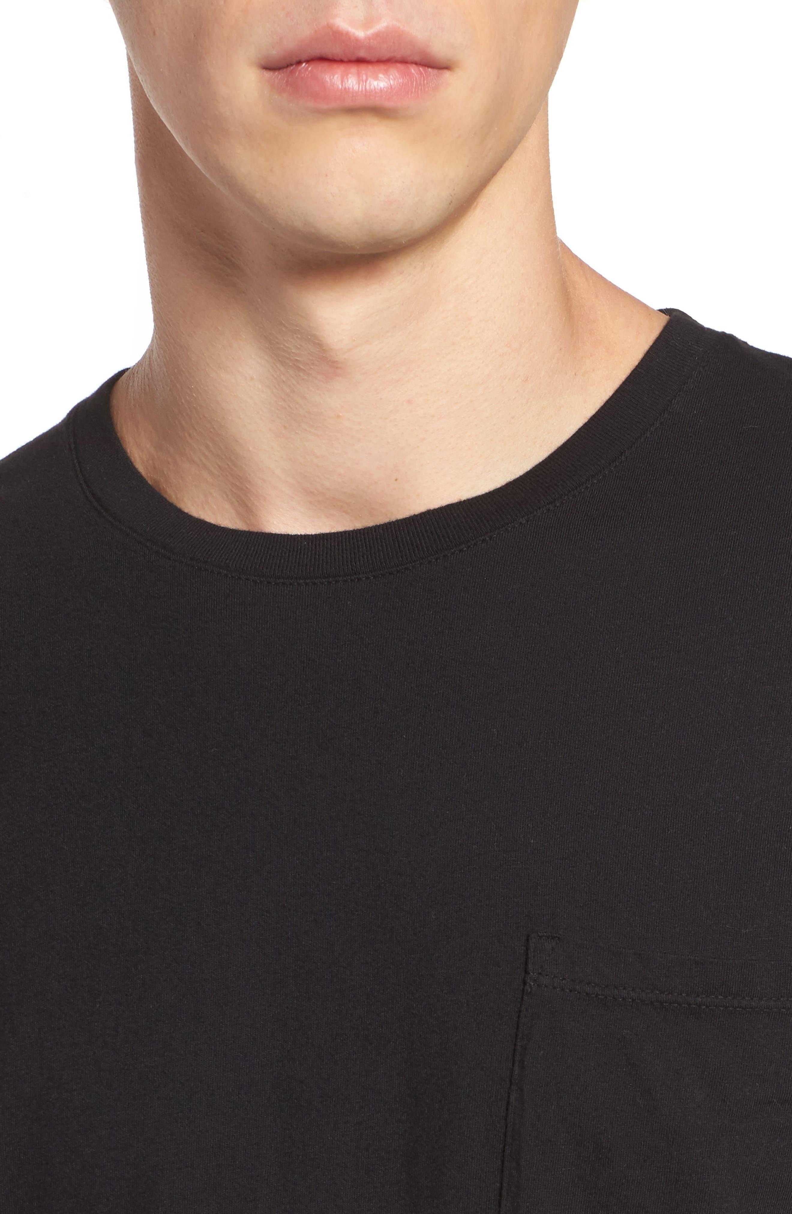 Lounge Pocket T-Shirt,                             Alternate thumbnail 4, color,                             BLACK