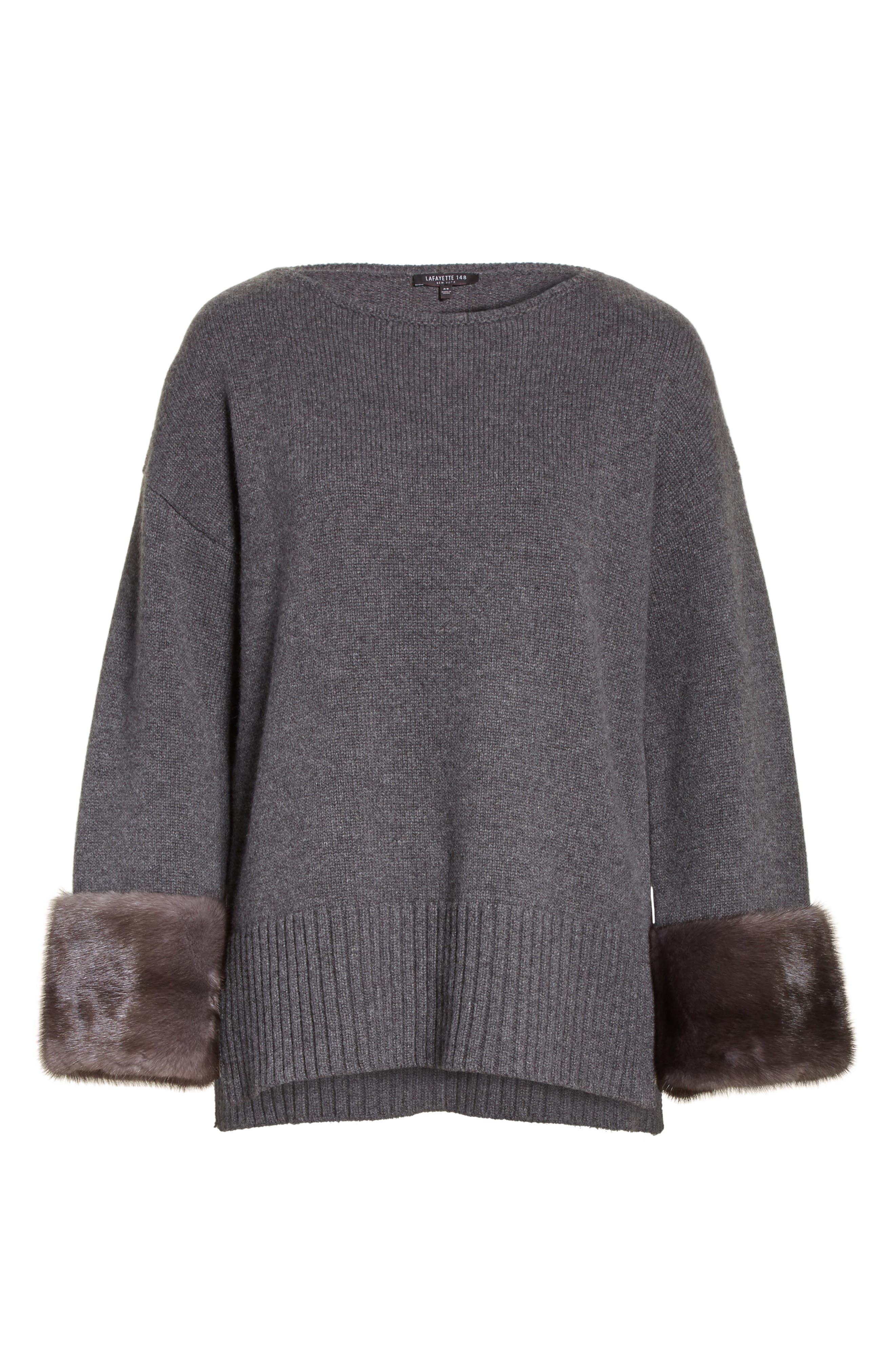 Cashmere Sweater with Genuine Mink Fur Cuffs,                             Alternate thumbnail 6, color,                             020