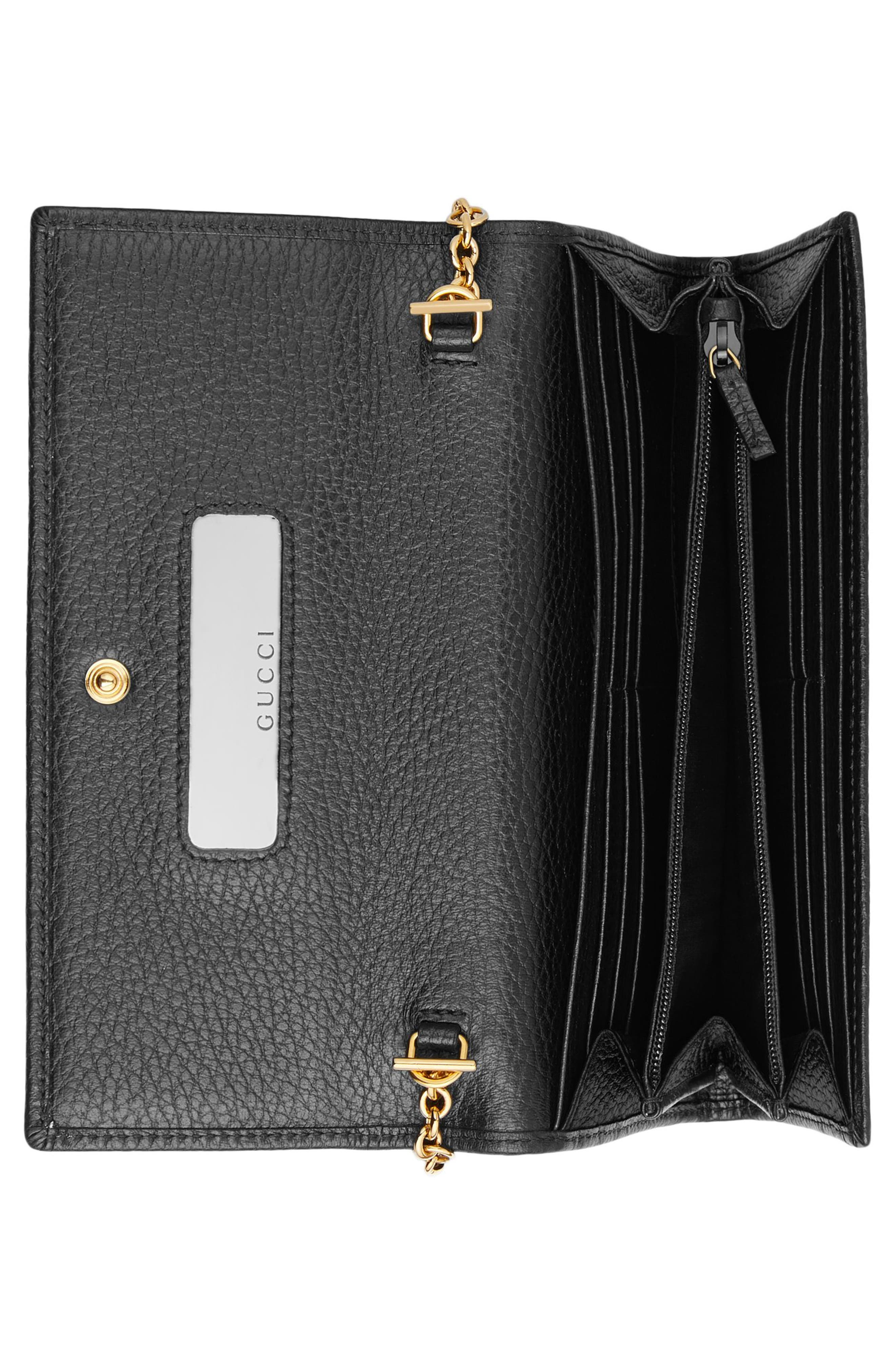 Petite Marmont Leather Continental Wallet on a Chain,                             Alternate thumbnail 3, color,                             NERO