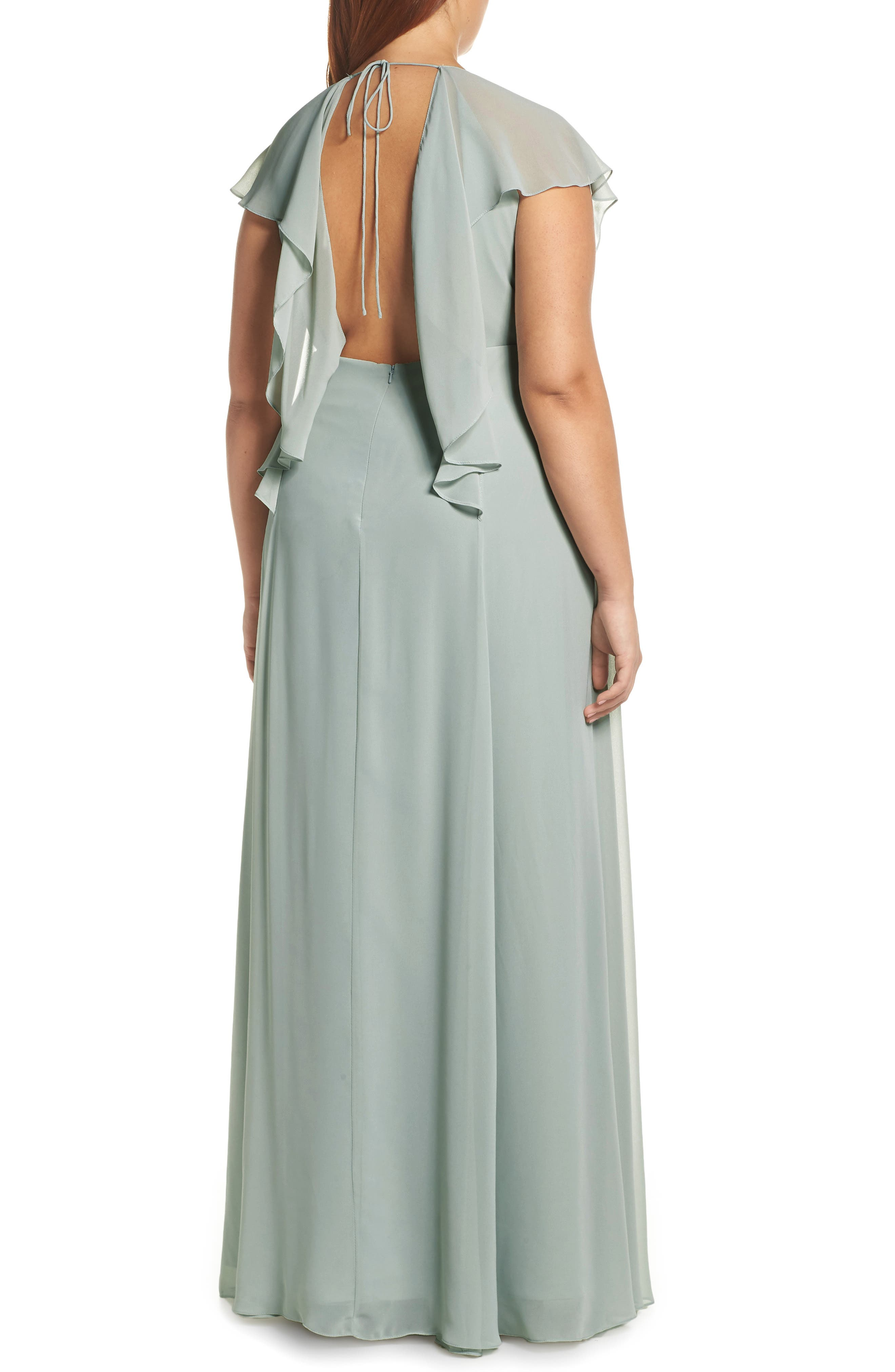 Alanna Open Back Chiffon Gown,                             Alternate thumbnail 4, color,                             MORNING MIST