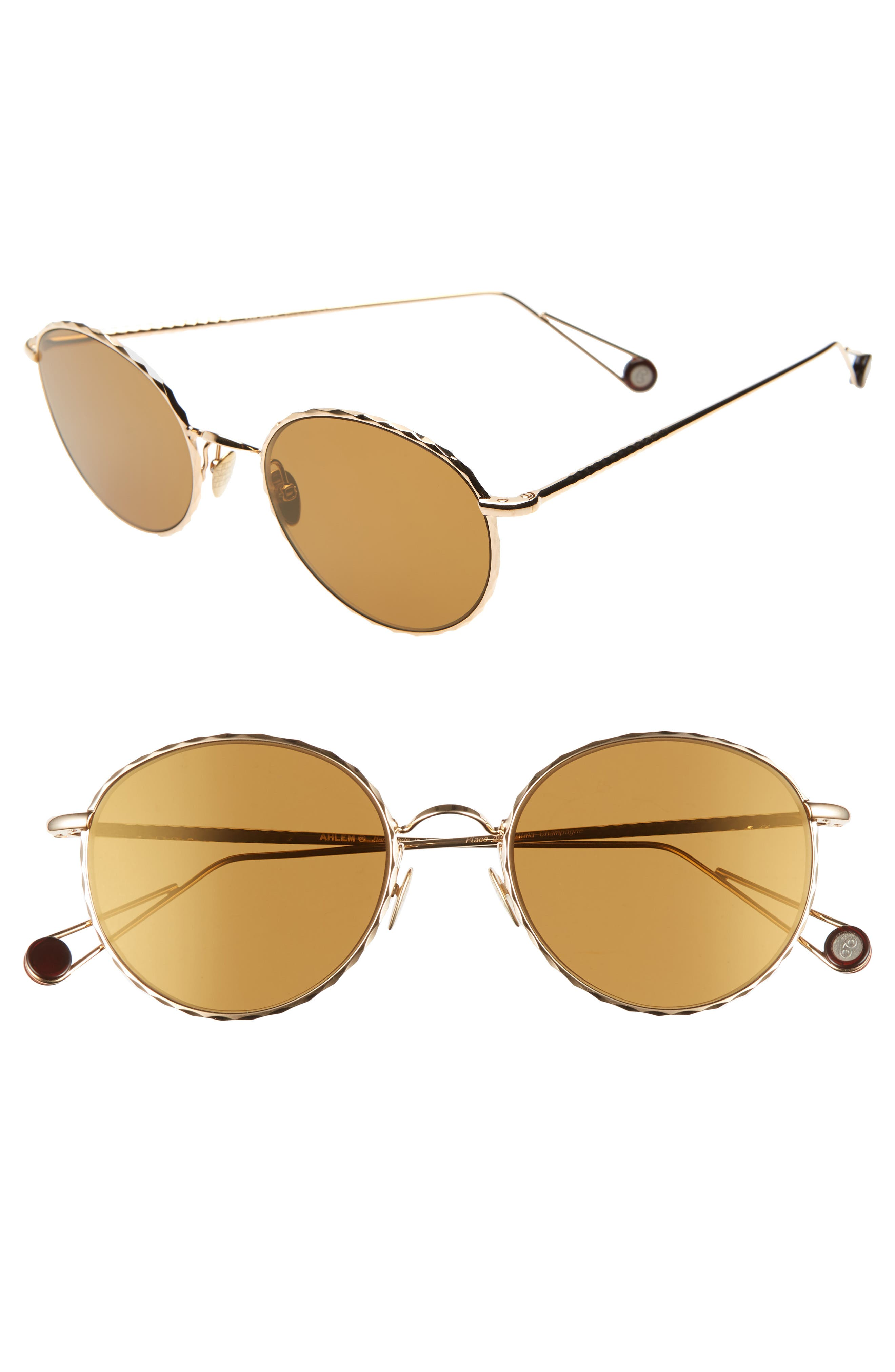 AHLEM Place De L'Alma 54Mm Round Sunglasses in Yellow Gold