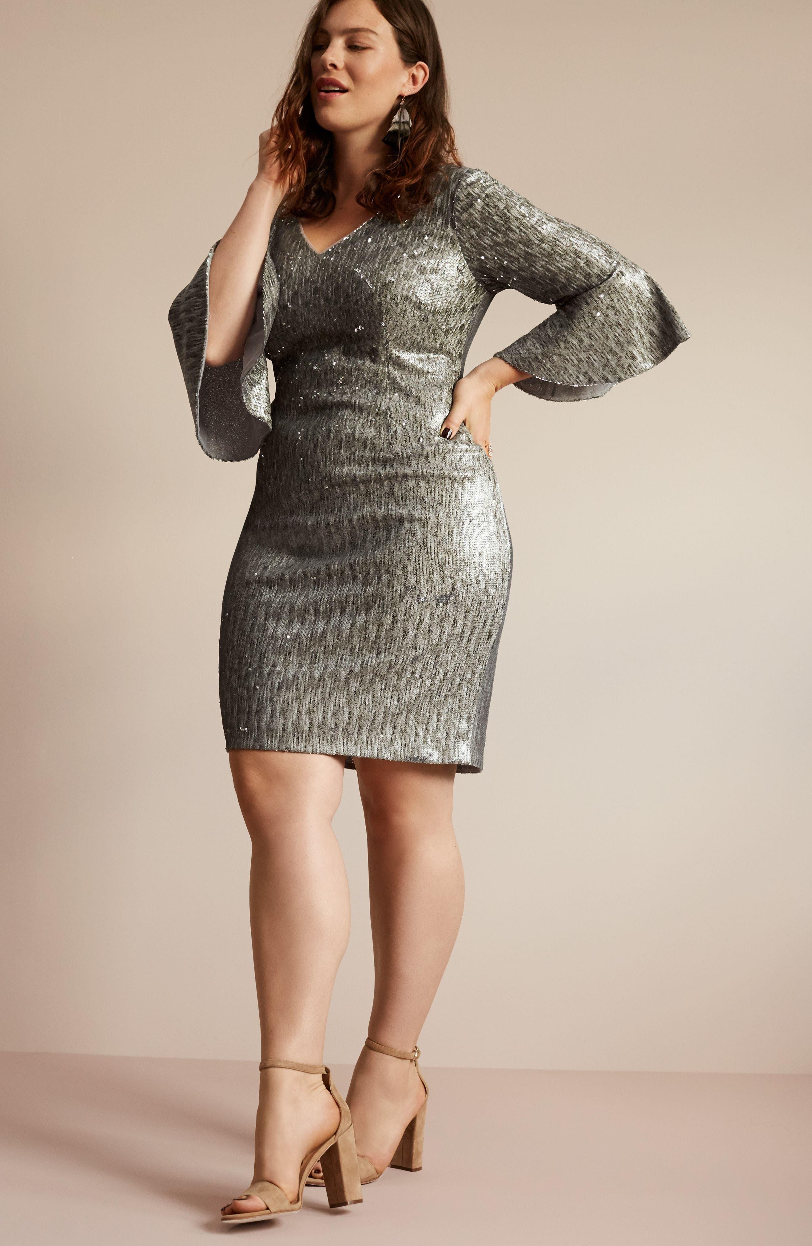 Bell Sleeve Sequin Sheath Dress,                             Alternate thumbnail 7, color,                             080
