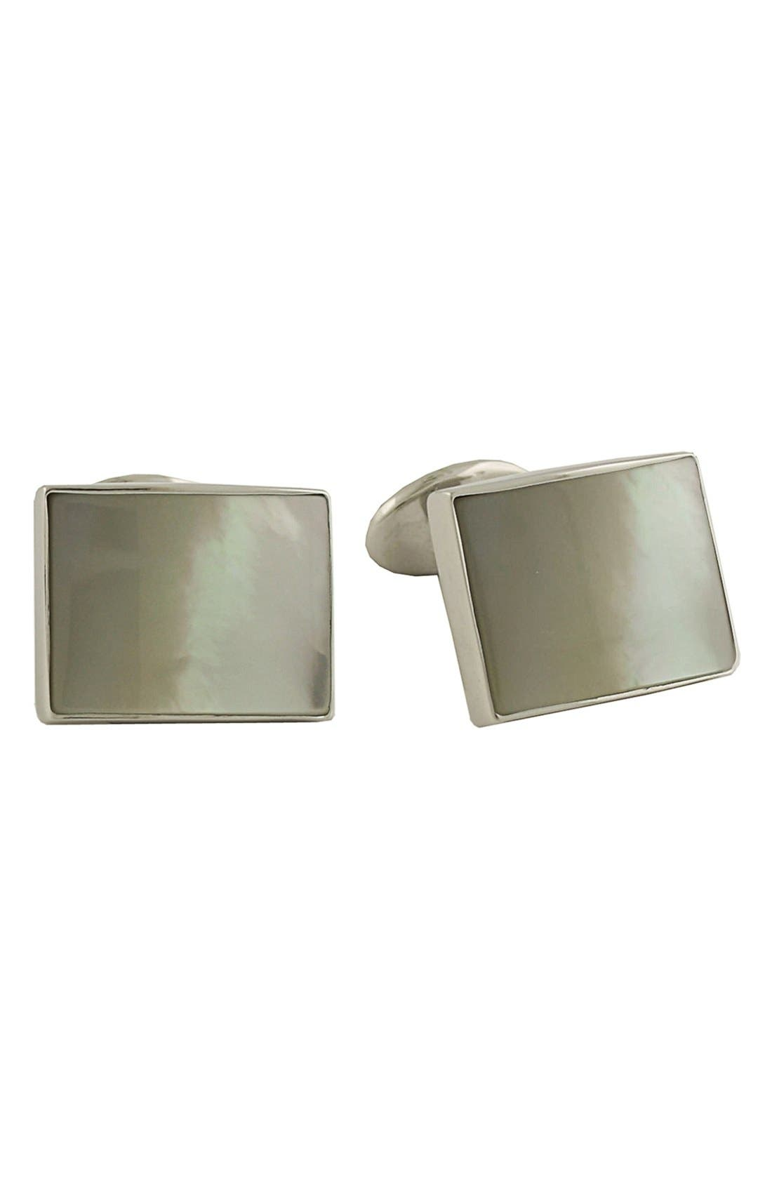 Sterling Silver Cuff Links,                             Main thumbnail 1, color,                             MOTHER OF PEARL