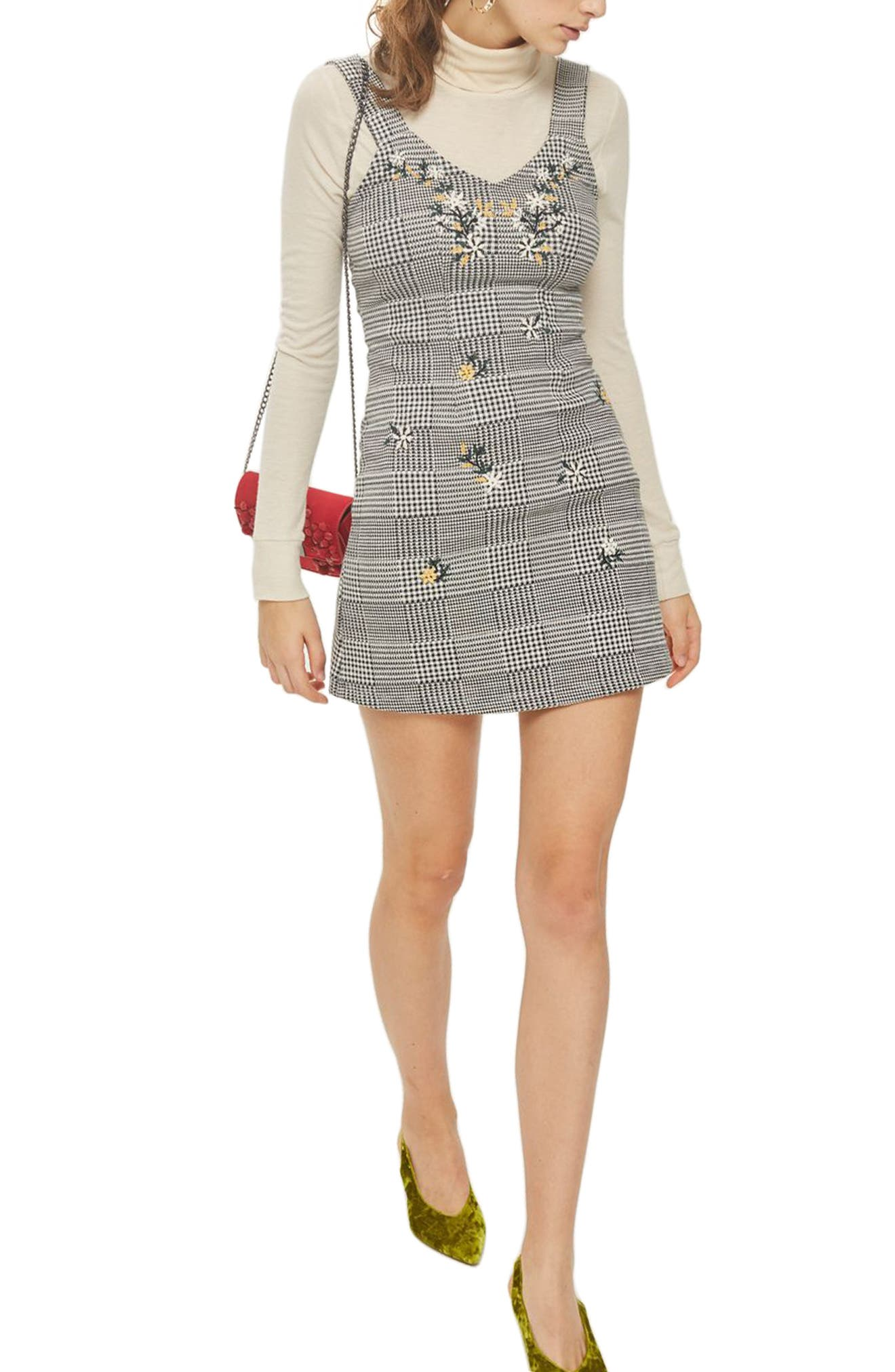 Embroidered Gingham Pinafore Dress,                         Main,                         color,