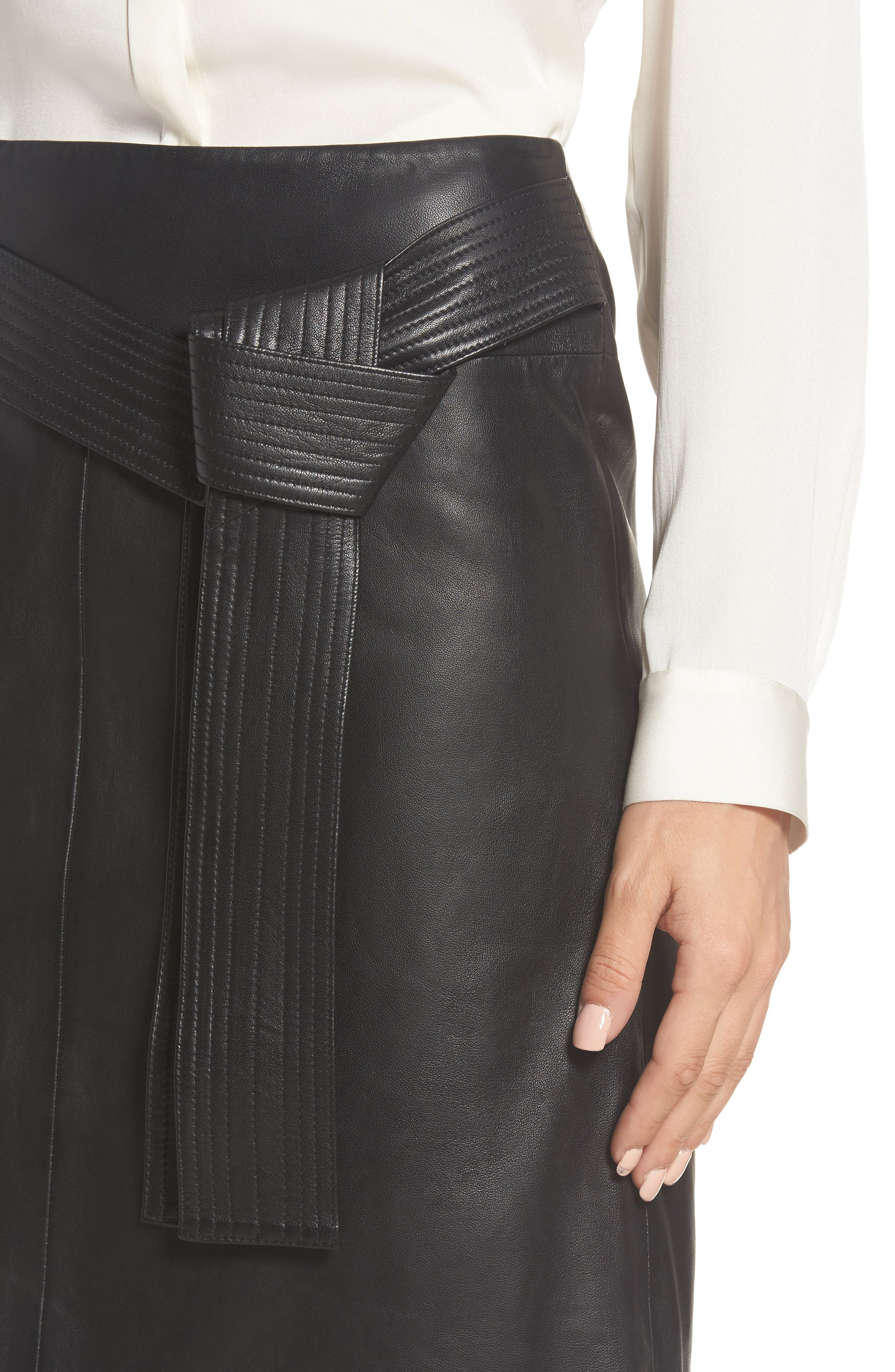 Belted Leather Skirt,                             Alternate thumbnail 4, color,                             001