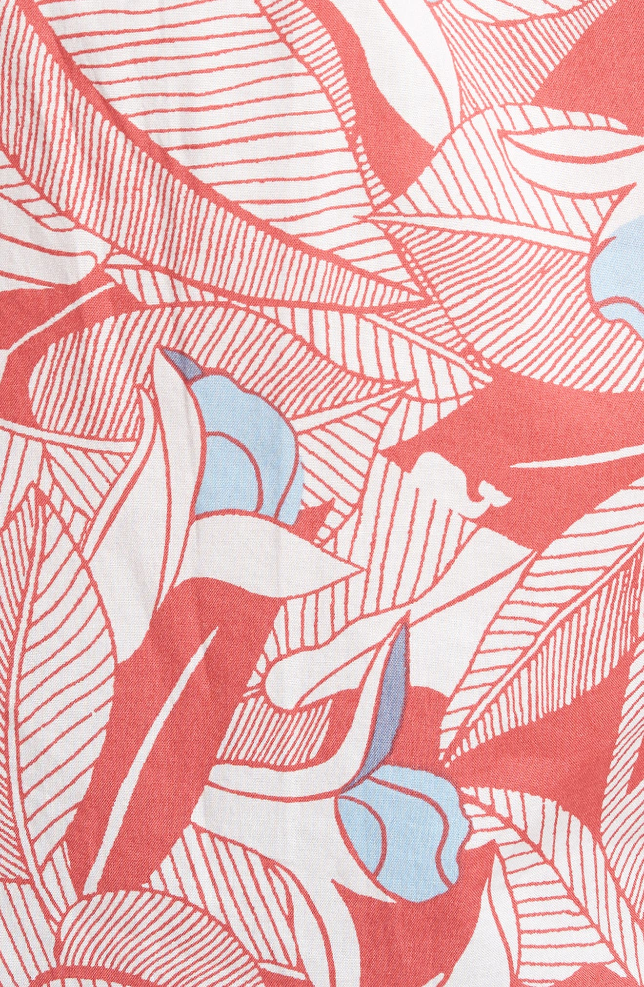 Flowers & Leaves Classic Fit Print Short Sleeve Sport Shirt,                             Alternate thumbnail 5, color,