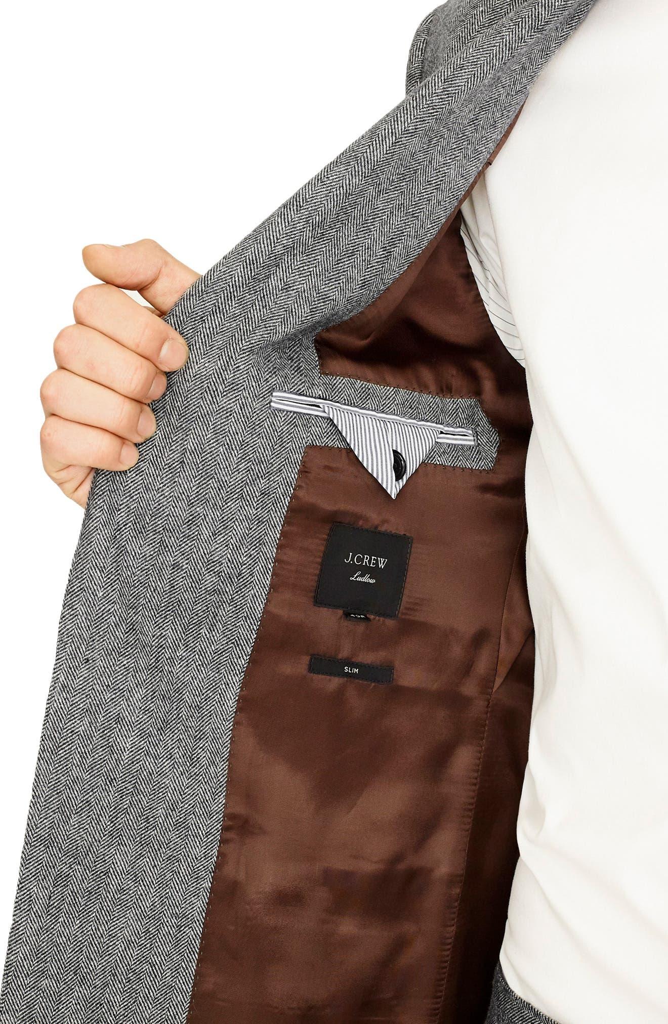 Ludlow Slim Fit Herringbone Wool Blend Suit Jacket,                             Alternate thumbnail 3, color,                             GREY HERRINGBONE