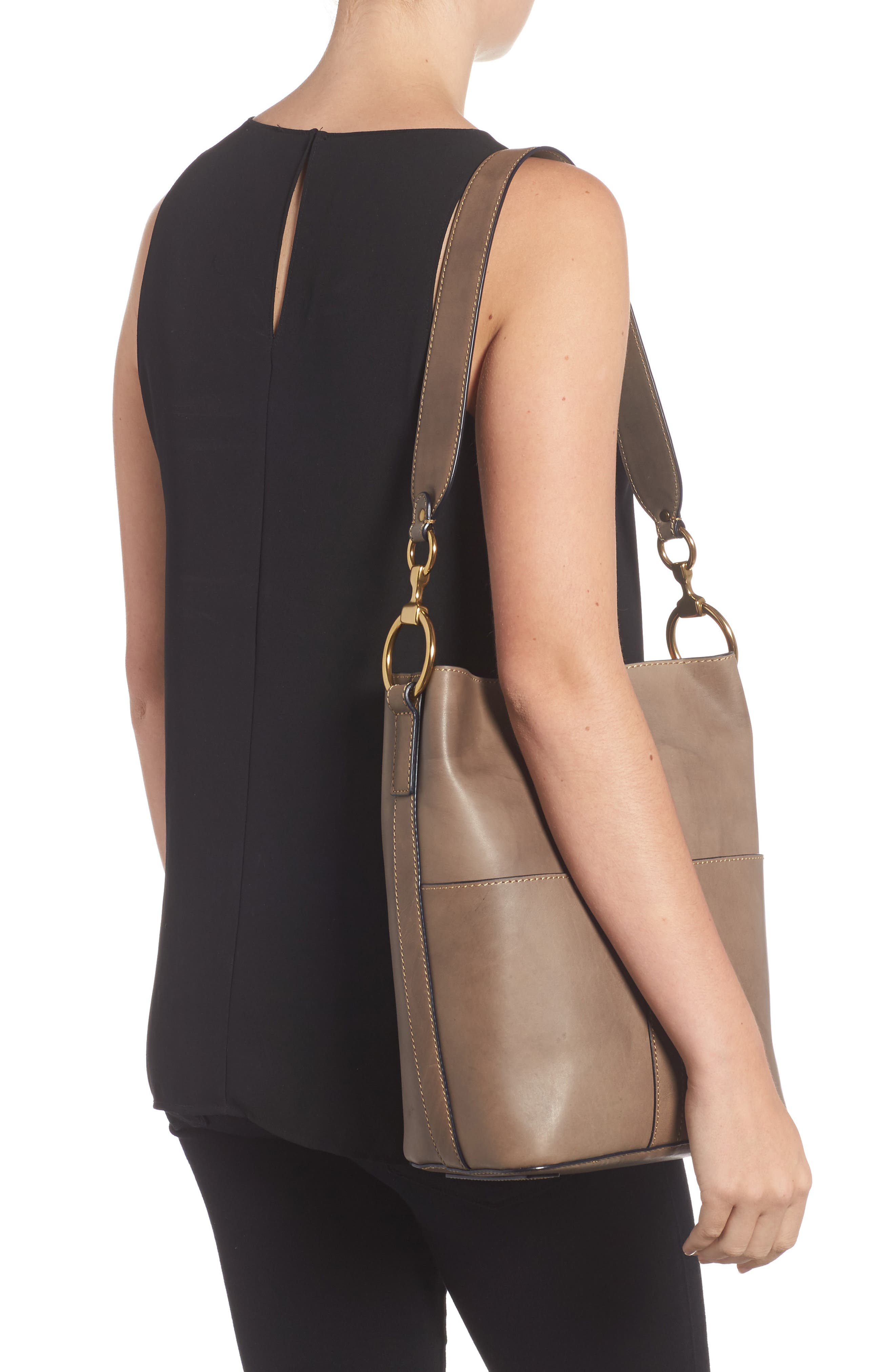 Ilana Leather Bucket Bag,                             Alternate thumbnail 2, color,                             030