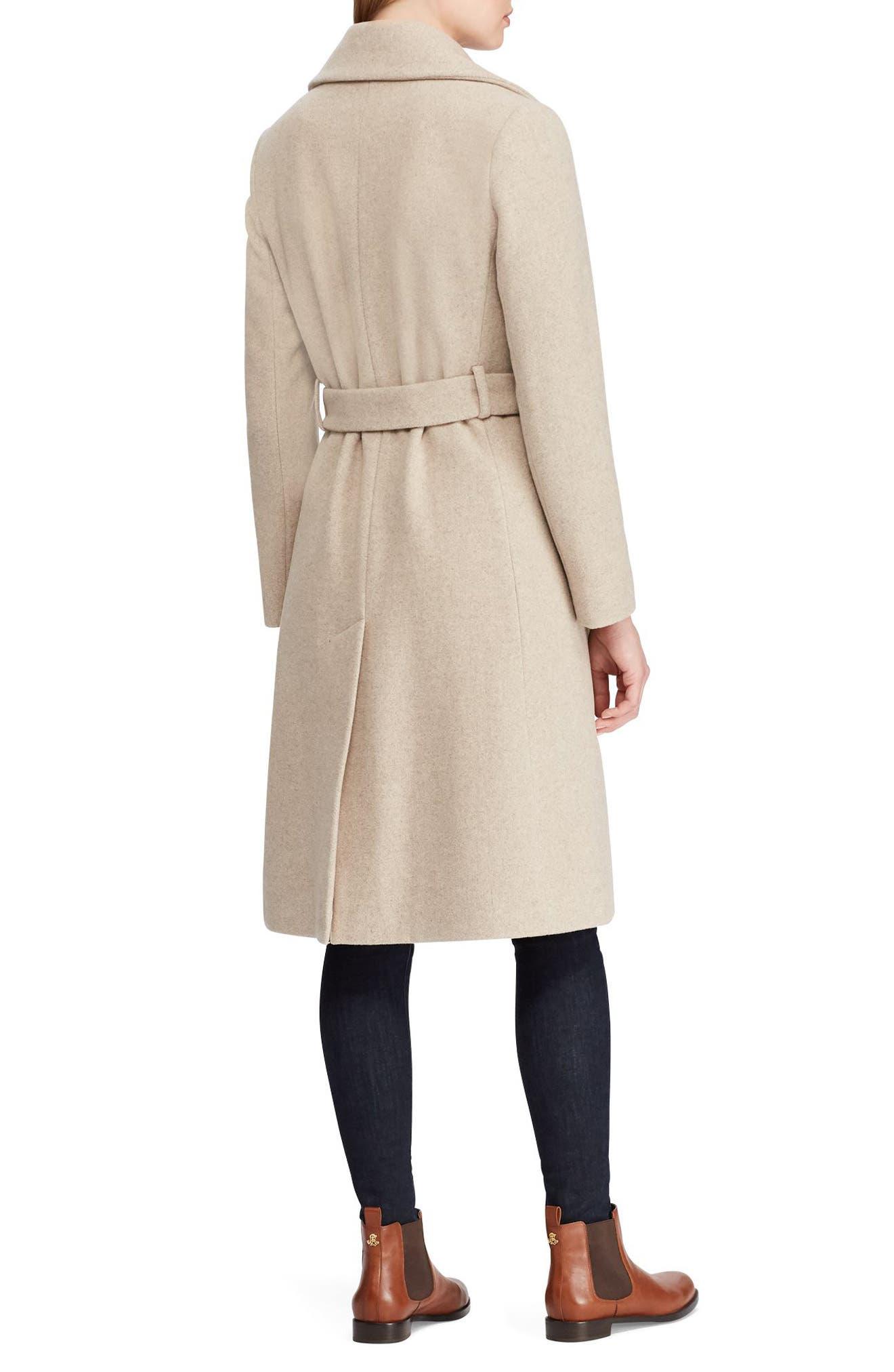 LAUREN RALPH LAUREN,                             Wool Blend Wrap Coat,                             Alternate thumbnail 2, color,                             063