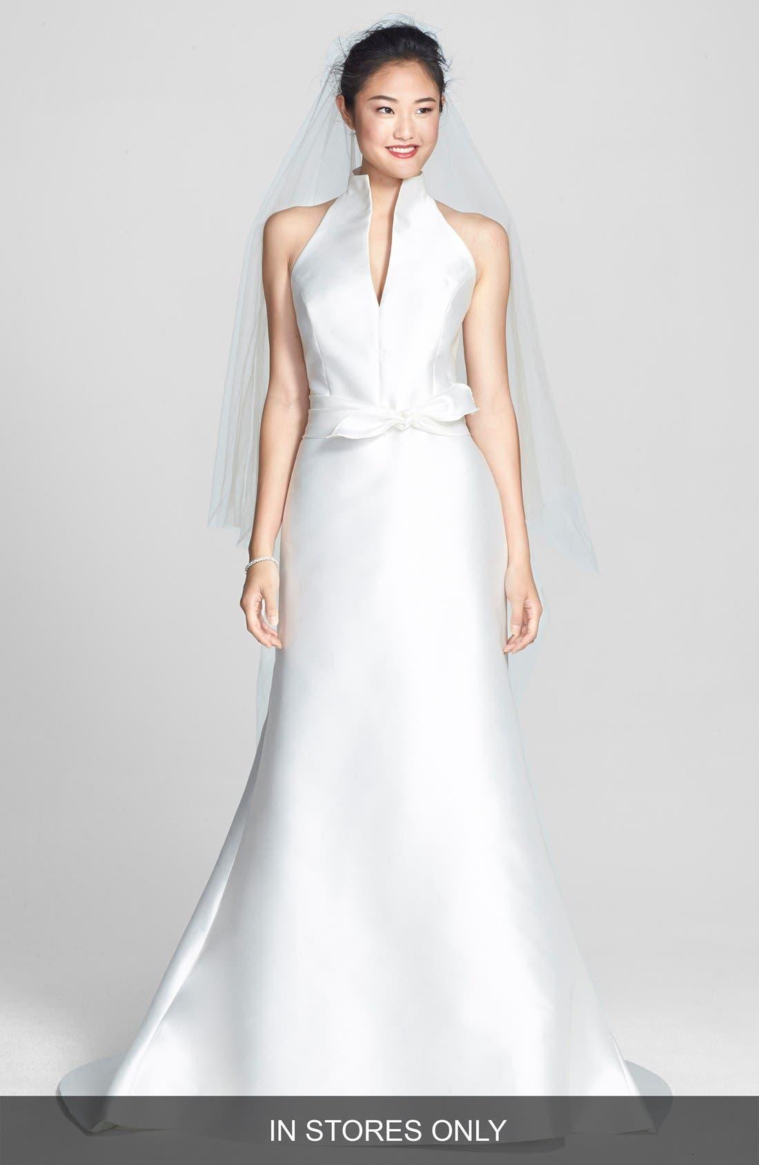 Mikado Satin Halter Fluted Dress,                         Main,                         color, OFF WHITE