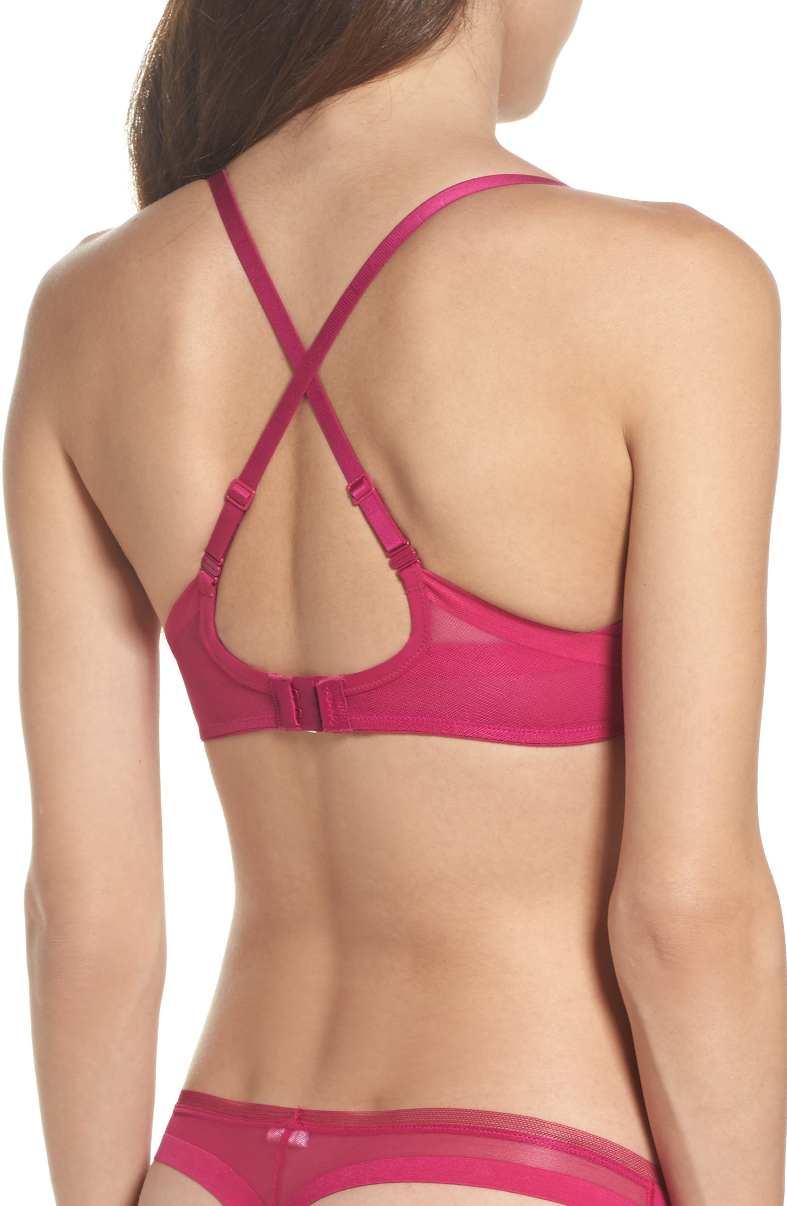 Sculpted Underwire Plunge Push-Up Bra,                             Alternate thumbnail 3, color,                             658