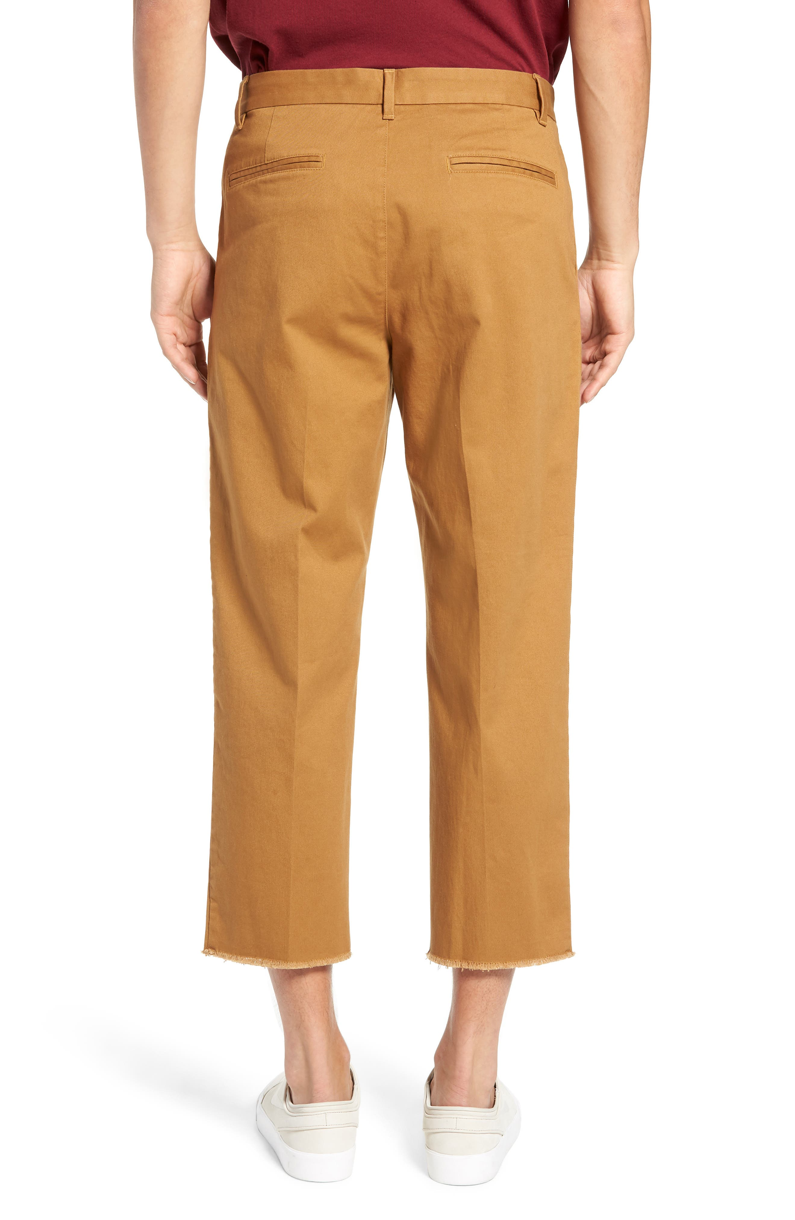 Pleated Crop Pants,                             Alternate thumbnail 2, color,                             BROWN DIJON