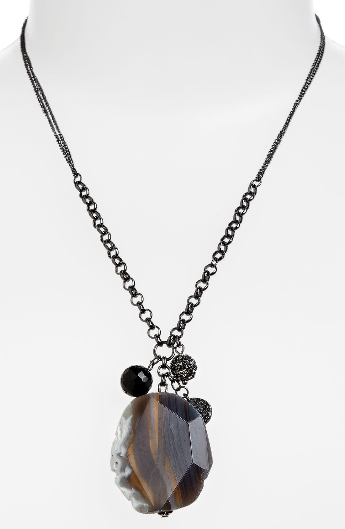 Agate Short Pendant Necklace, Main, color, 020