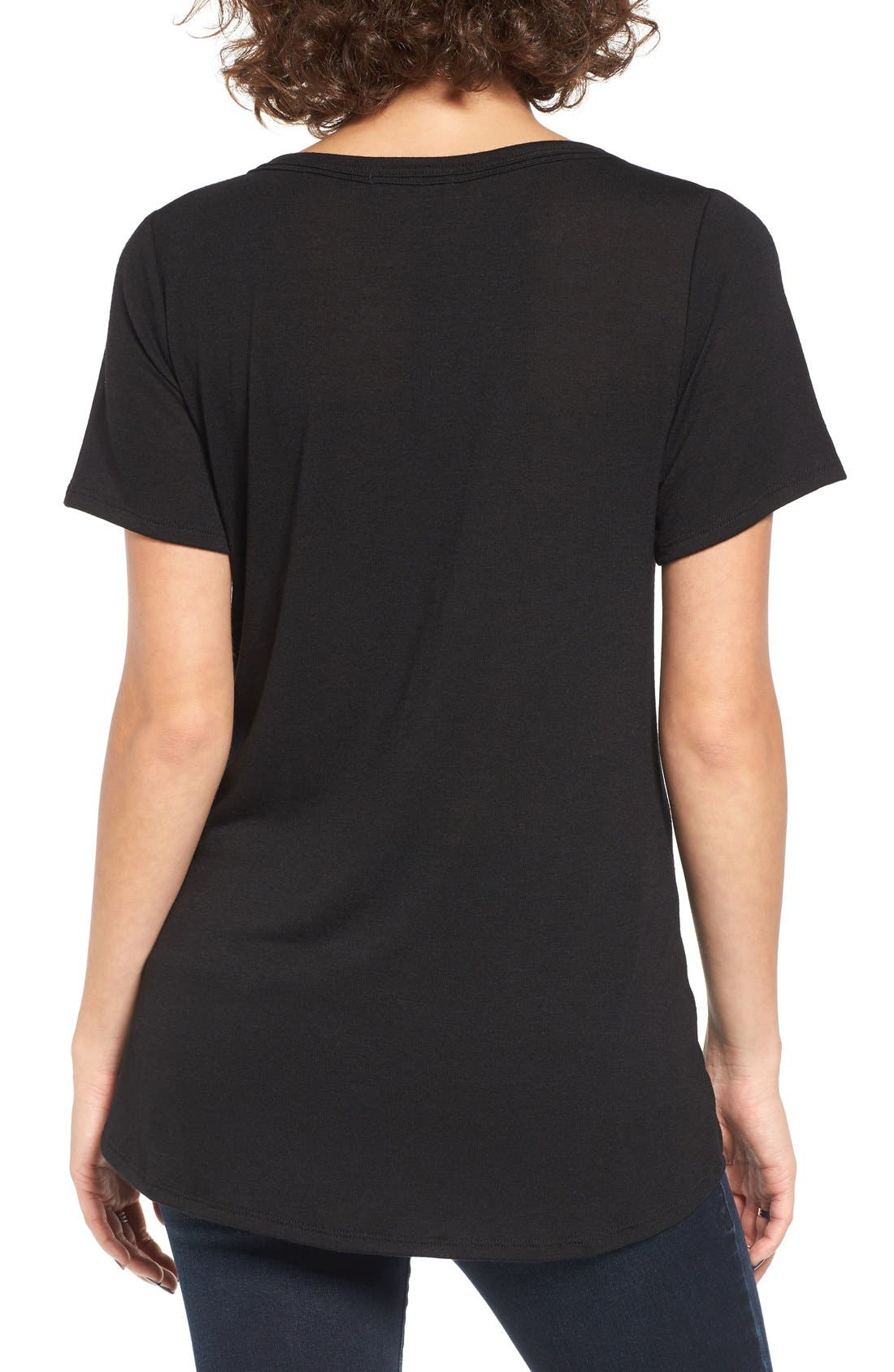 Strap Front Tee,                             Alternate thumbnail 2, color,                             001