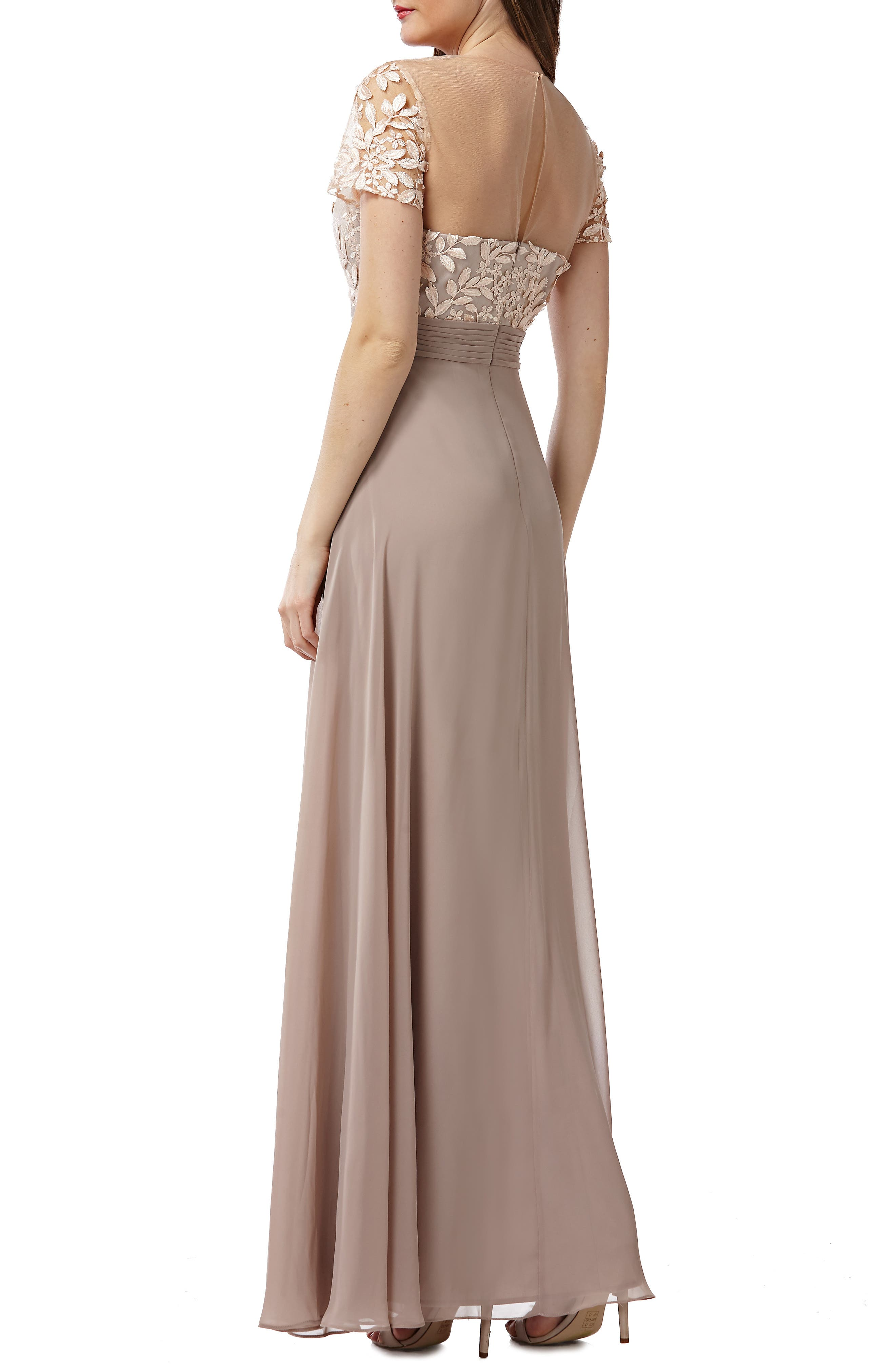 JS COLLECTIONS,                             Embroidered Illusion Bodice Gown,                             Alternate thumbnail 2, color,                             BLUSH/ NUDE