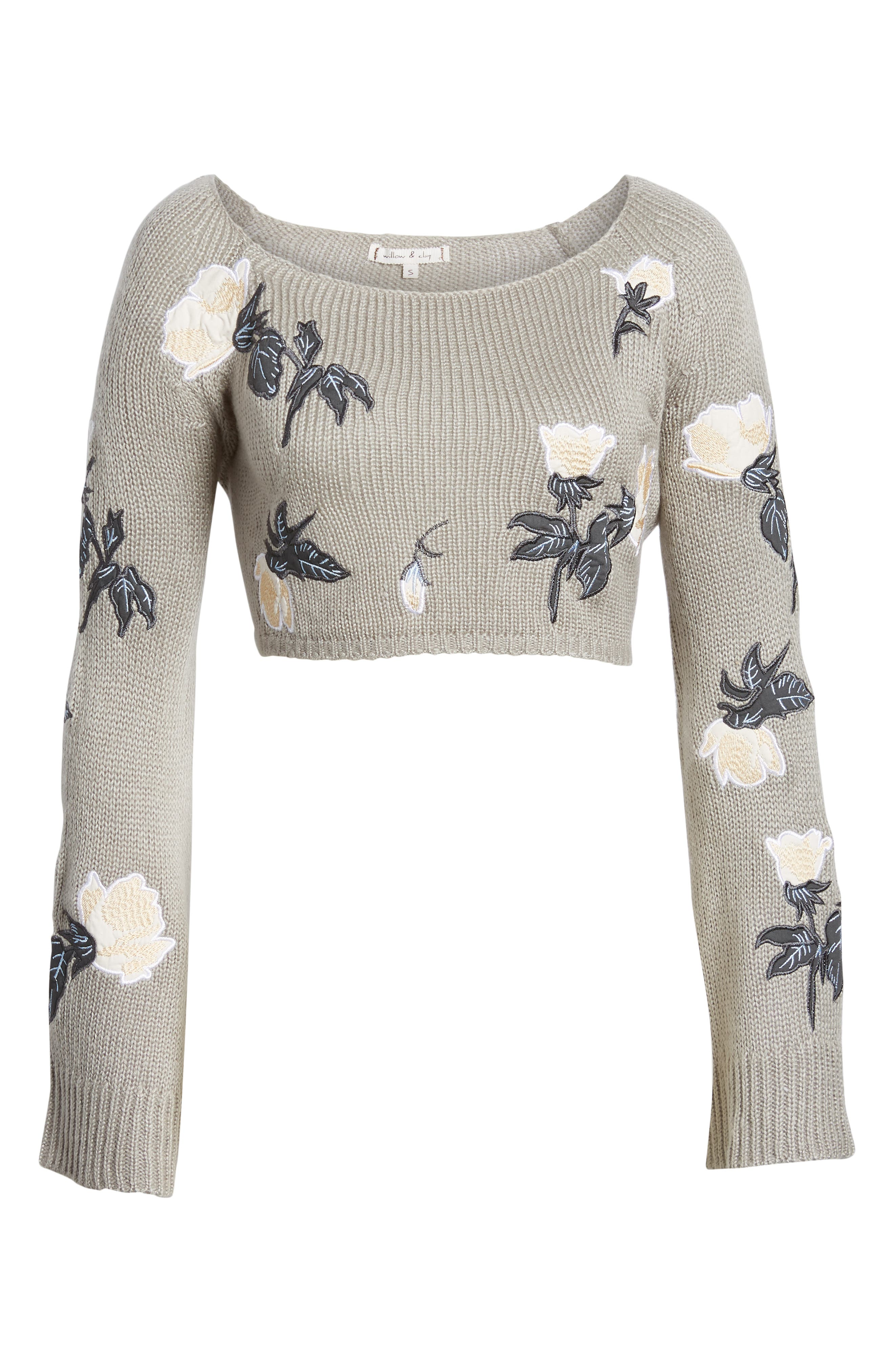 Floral Detail Bell Sleeve Crop Sweater,                             Alternate thumbnail 6, color,                             060