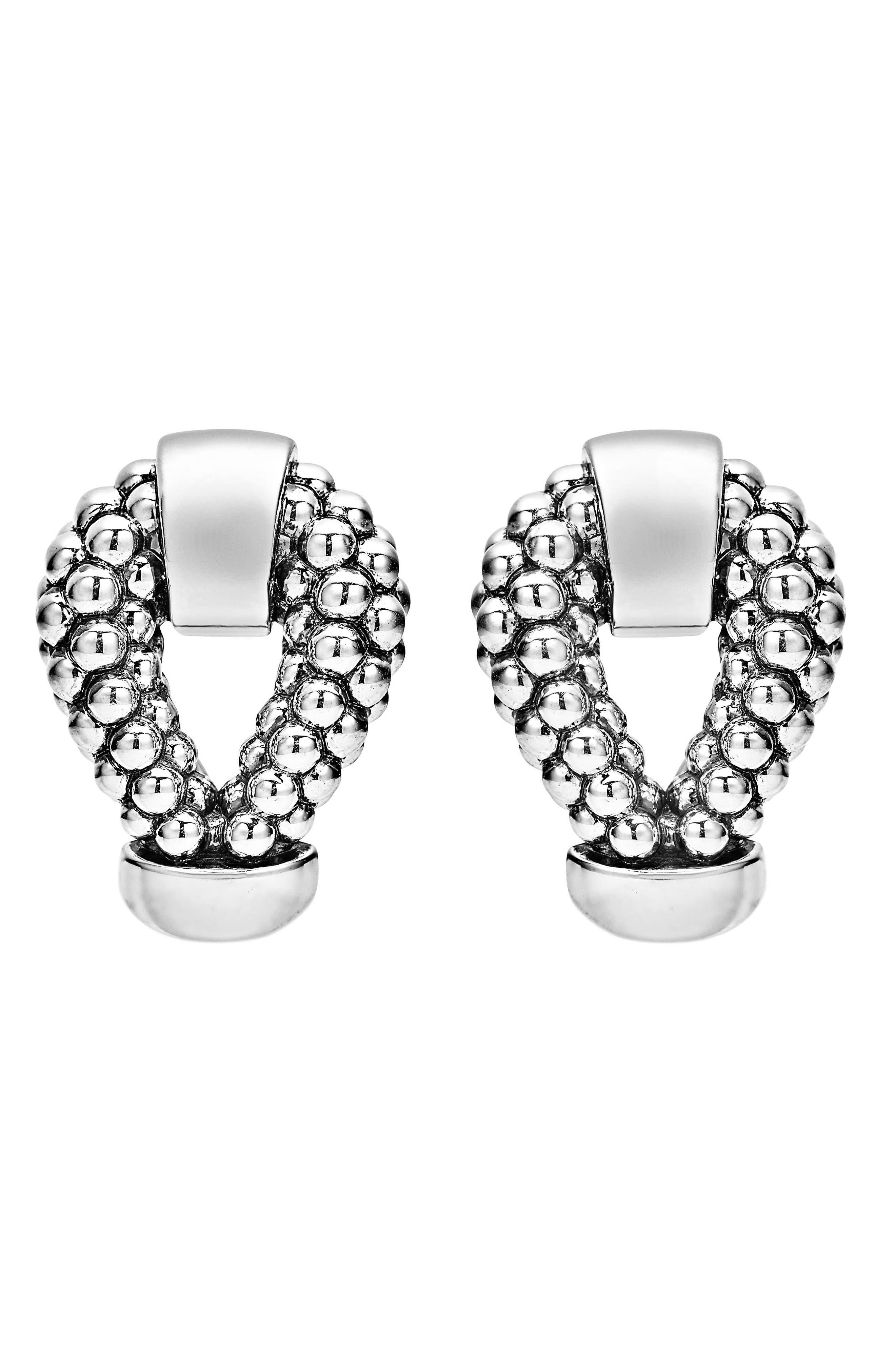 Derby Caviar Stud Earrings,                             Alternate thumbnail 2, color,                             SILVER