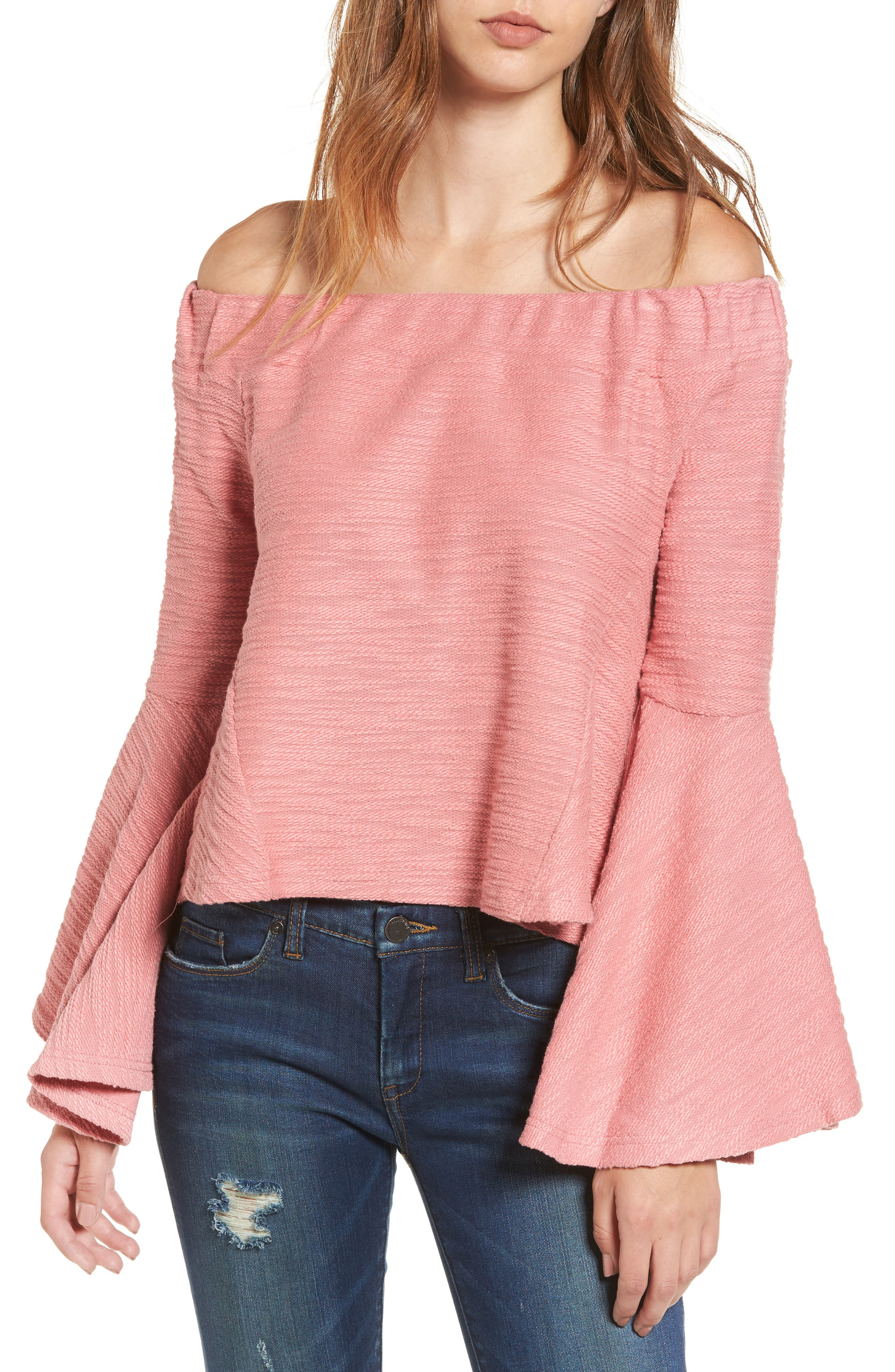 Off the Shoulder Bell Sleeve Top,                             Main thumbnail 1, color,                             650