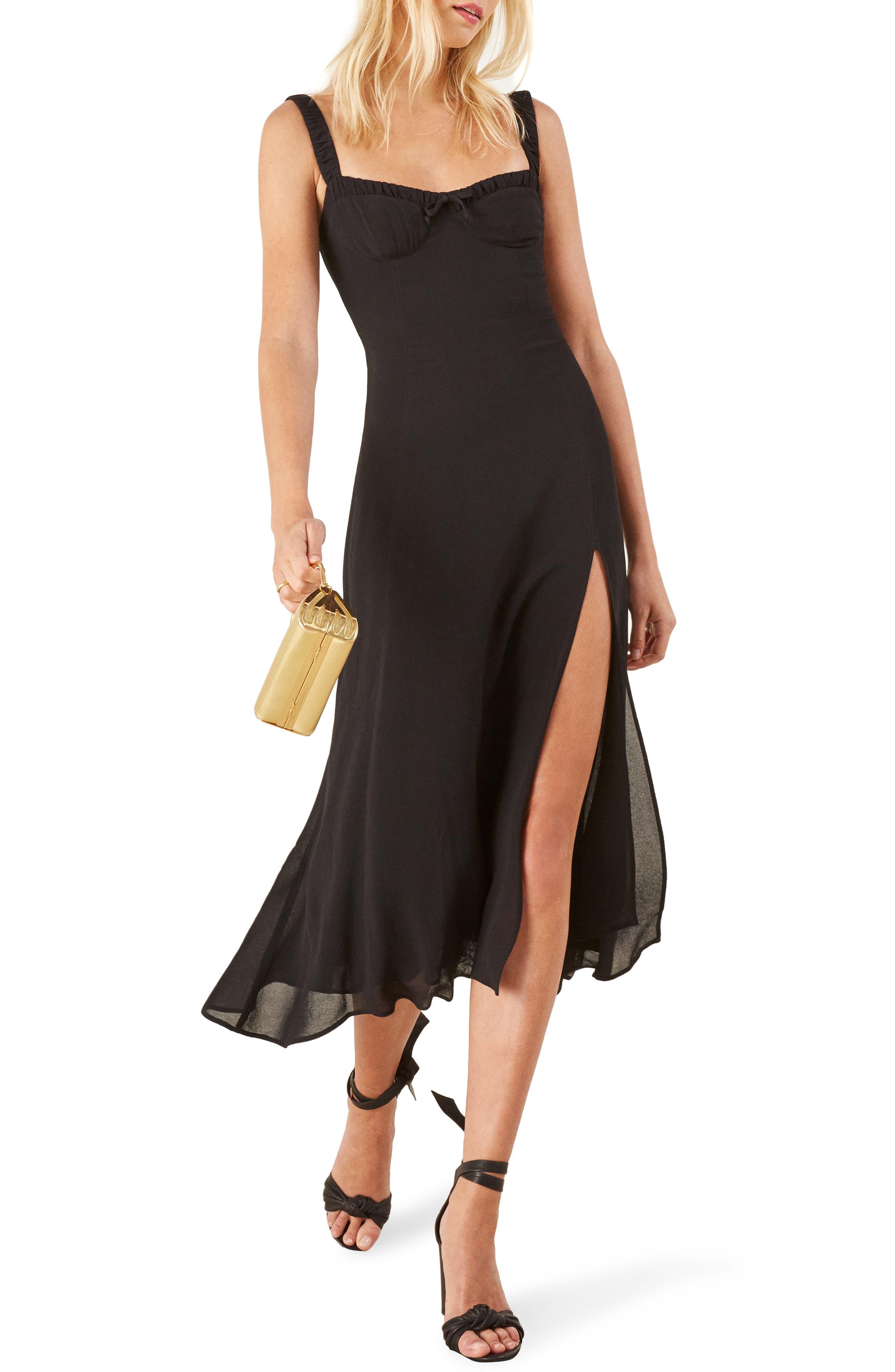Peridot Side Slit Dress,                             Main thumbnail 1, color,                             BLACK