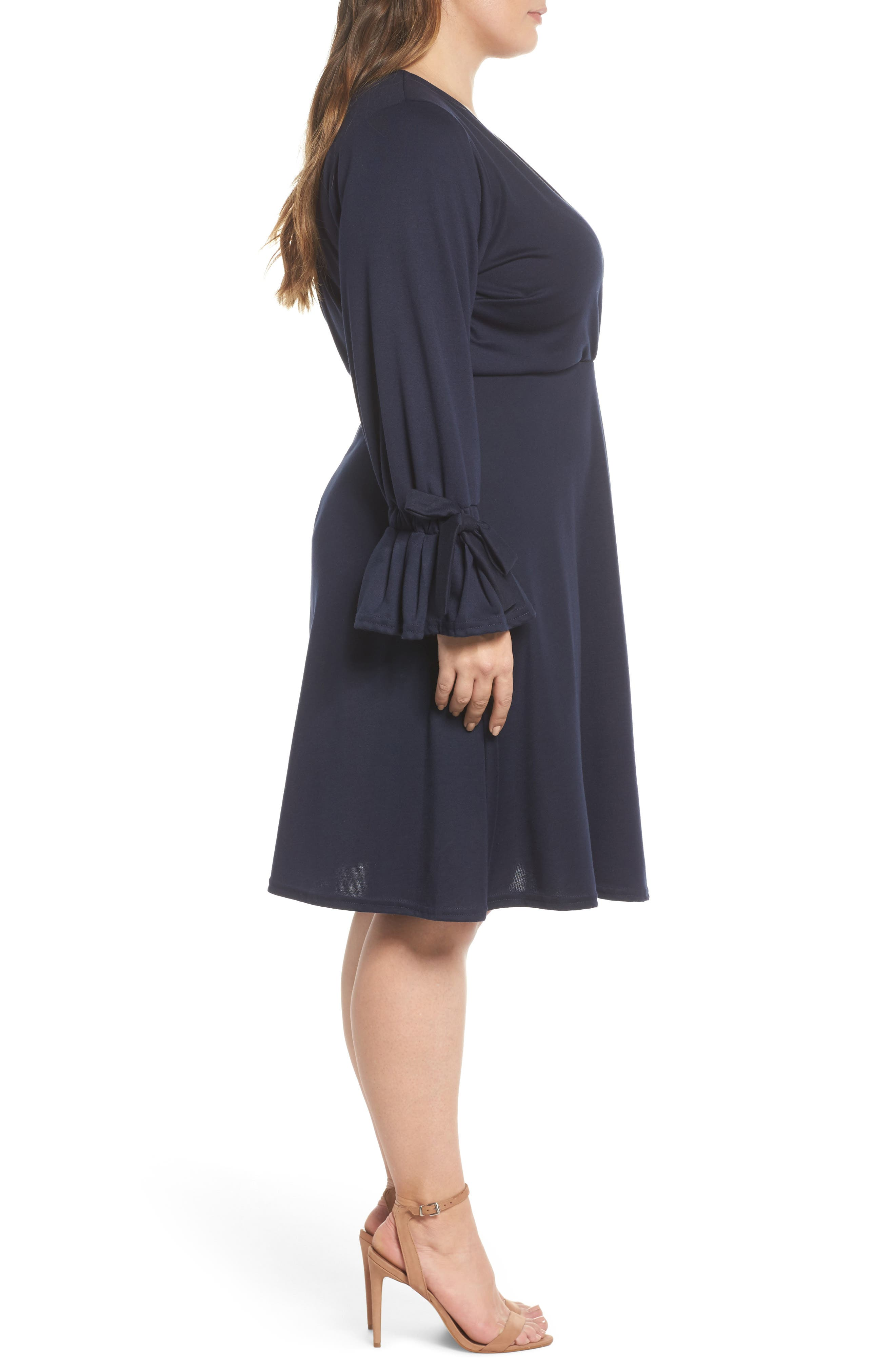 Bell Sleeve Fit & Flare Dress,                             Alternate thumbnail 3, color,                             410