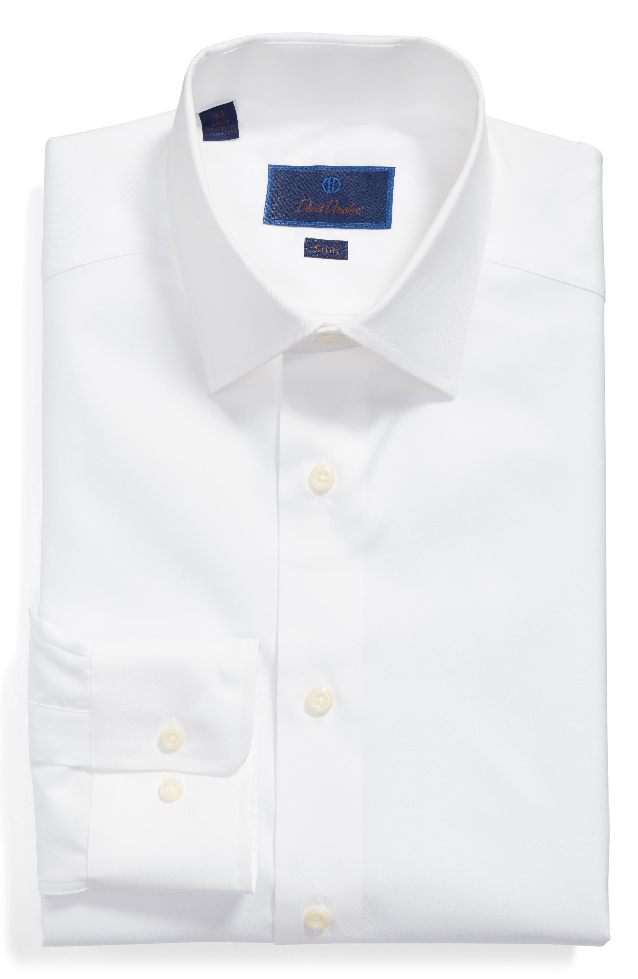 Slim Fit Solid Dress Shirt,                             Alternate thumbnail 3, color,                             WHITE