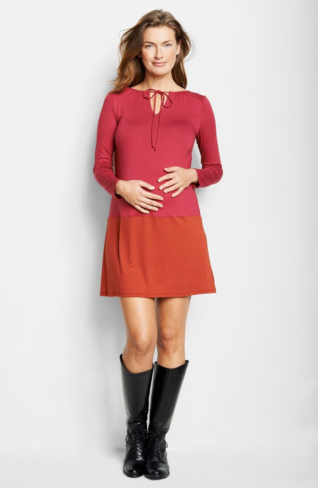 Keyhole Maternity Dress,                         Main,                         color, BURGUNDY/ RUST