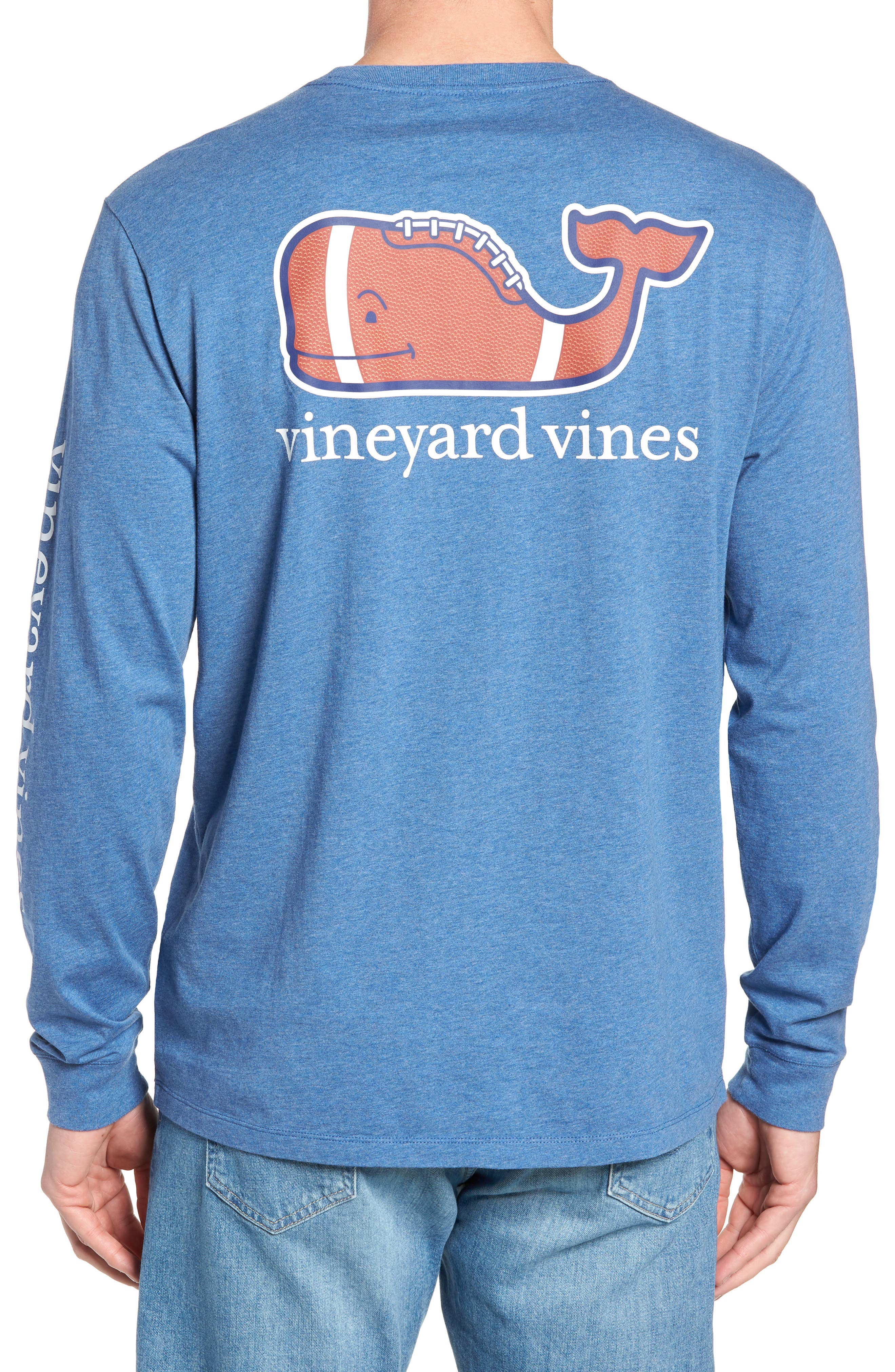 Football Whale Long Sleeve Pocket T-Shirt,                             Alternate thumbnail 2, color,                             MOONSHINE