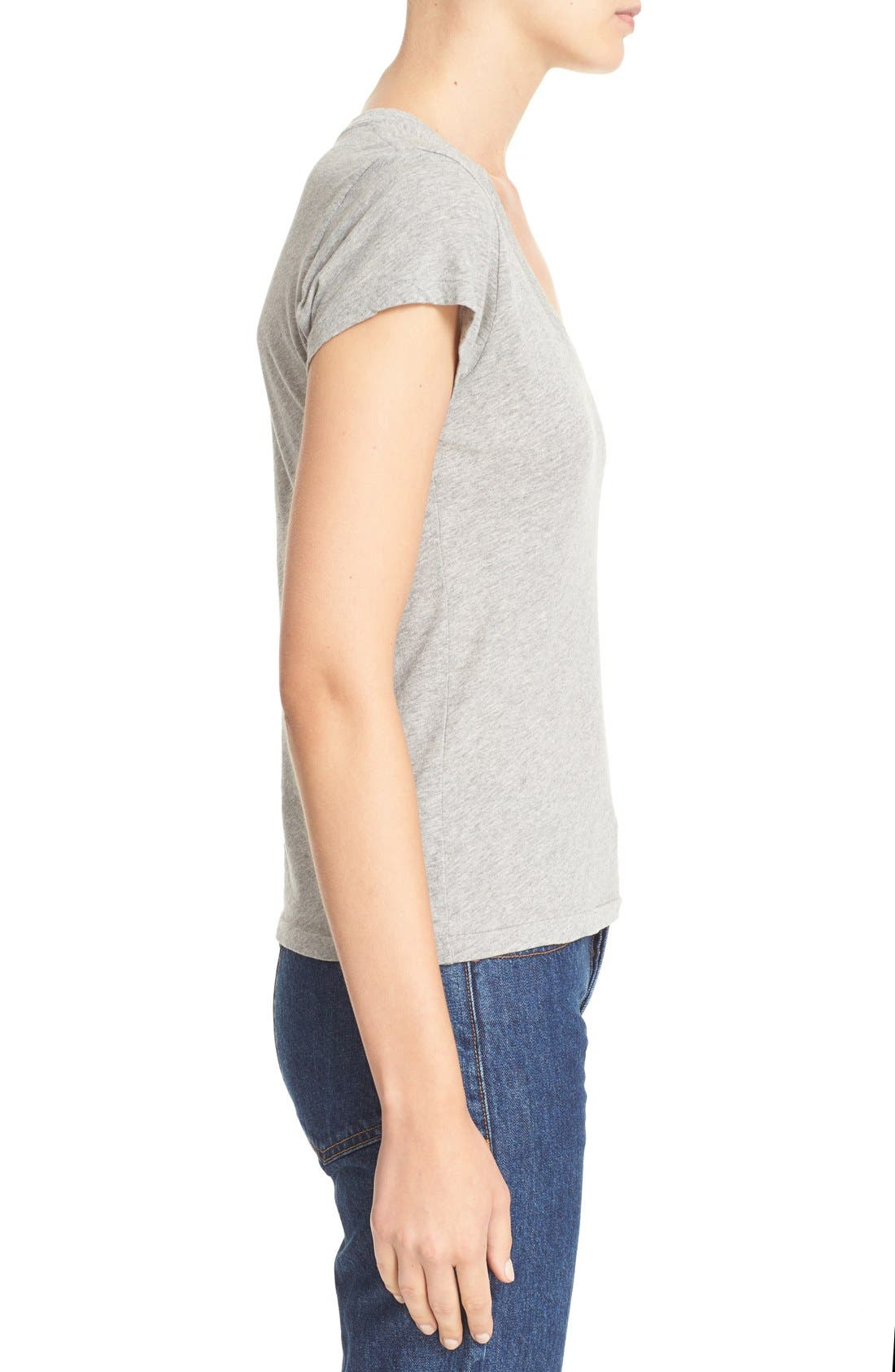 x Hanes '1960s Slim' V-Neck Tee,                             Alternate thumbnail 3, color,