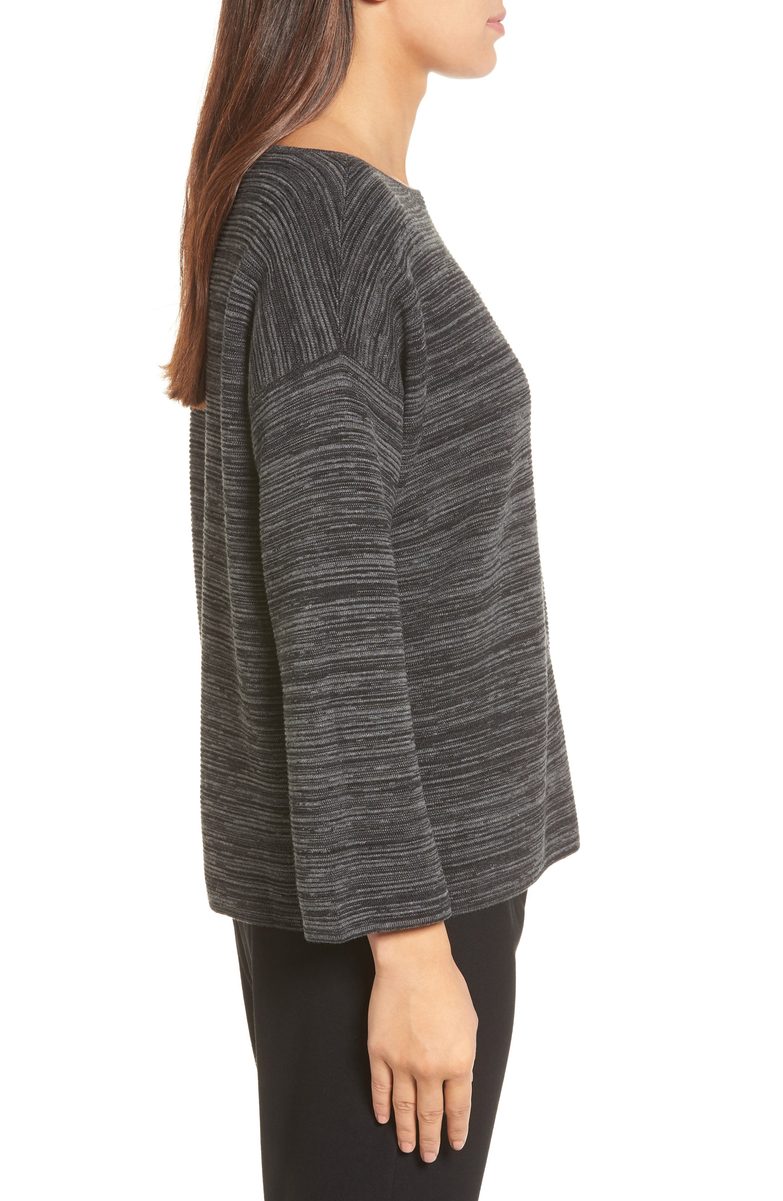 Tencel<sup>®</sup> & Organic Cotton Sweater,                             Alternate thumbnail 3, color,                             001