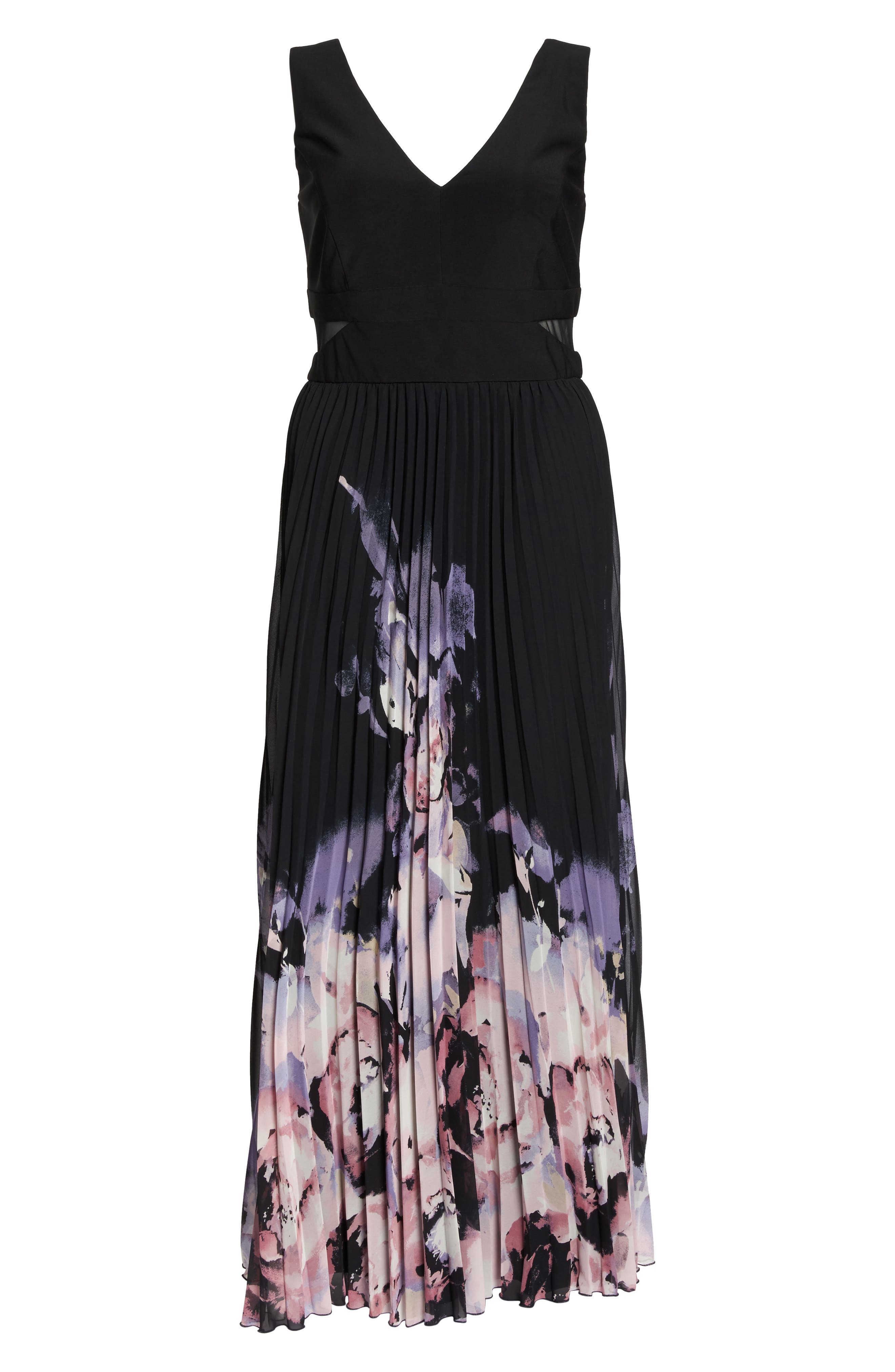 Pleated Chiffon Gown,                             Alternate thumbnail 6, color,                             001