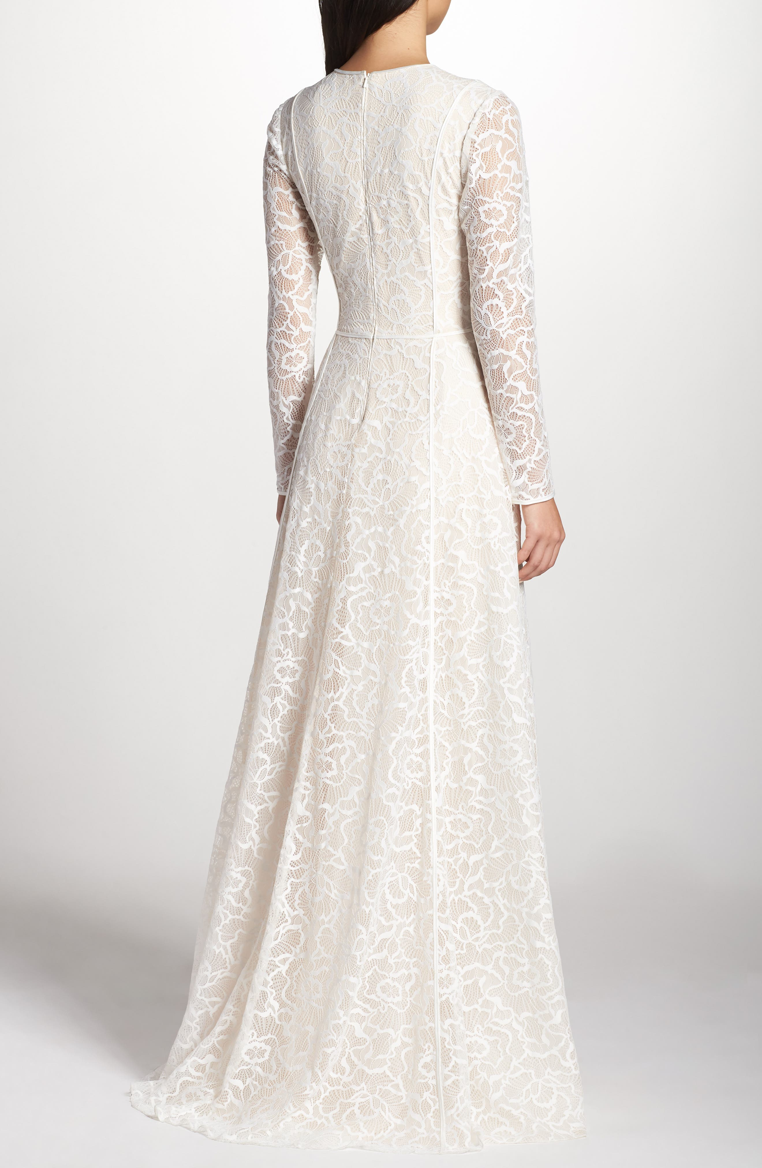 Sheer Sleeve Lace A-Line Gown,                             Alternate thumbnail 2, color,                             IVORY/ PETAL