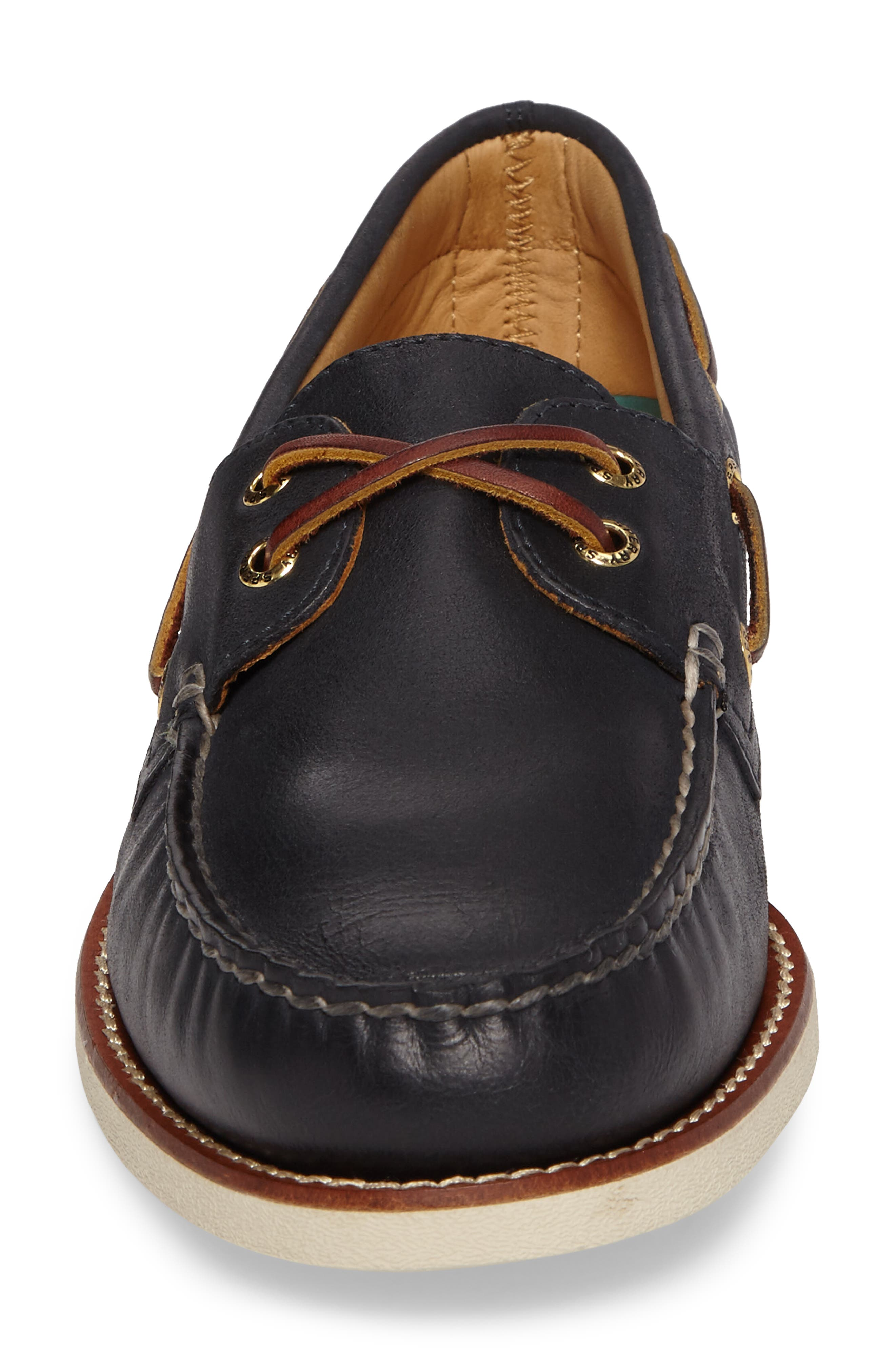 'Gold Cup - Authentic Original' Boat Shoe,                             Alternate thumbnail 4, color,                             NAVY LEATHER