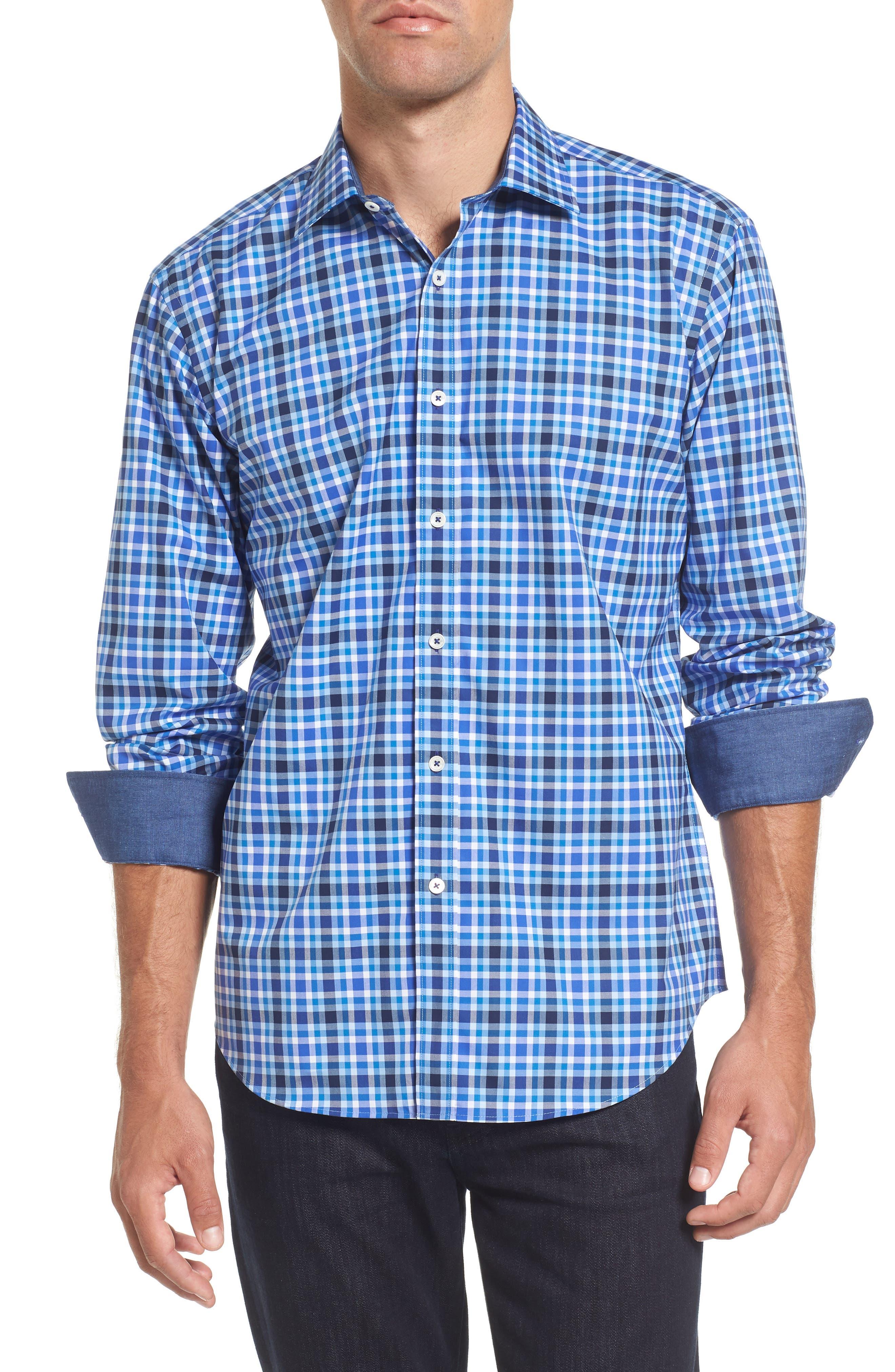 Shaped Fit Plaid Sport Shirt,                             Main thumbnail 1, color,                             422