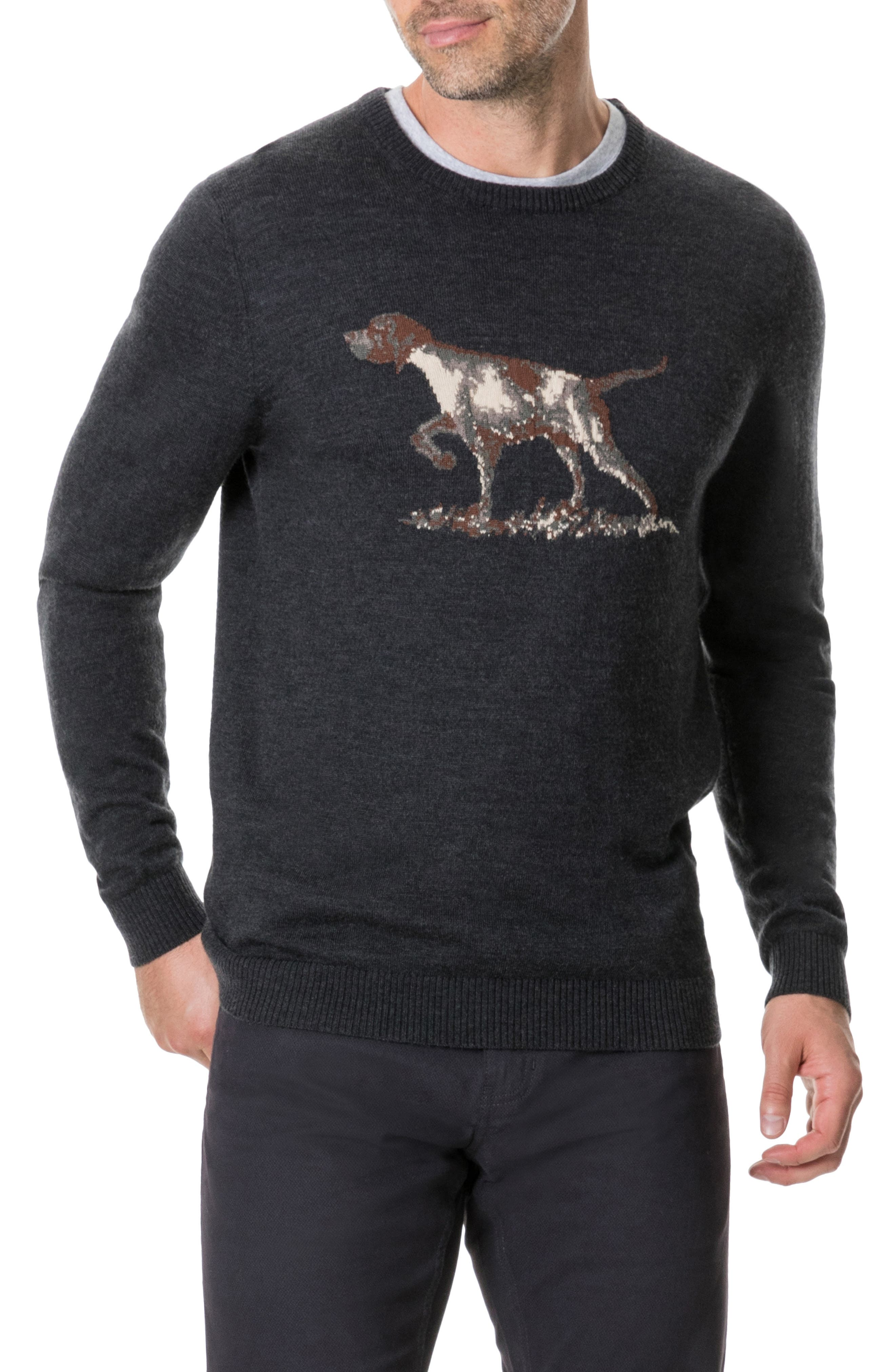Calderwell Pointer Intarsia Knit Wool Sweater,                         Main,                         color, CHARCOAL