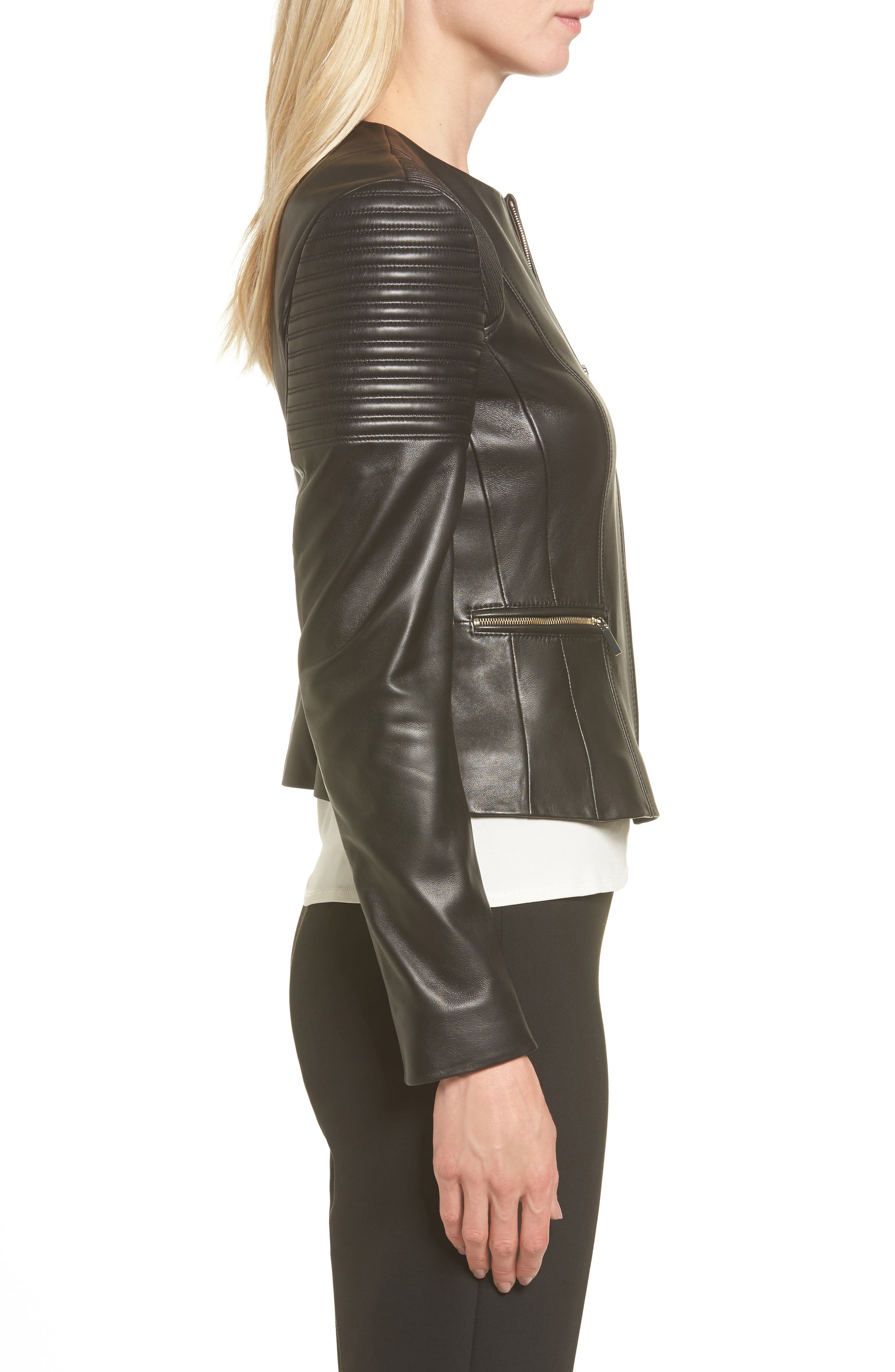 BOSS,                             Sakumaya Leather Jacket,                             Alternate thumbnail 3, color,                             001