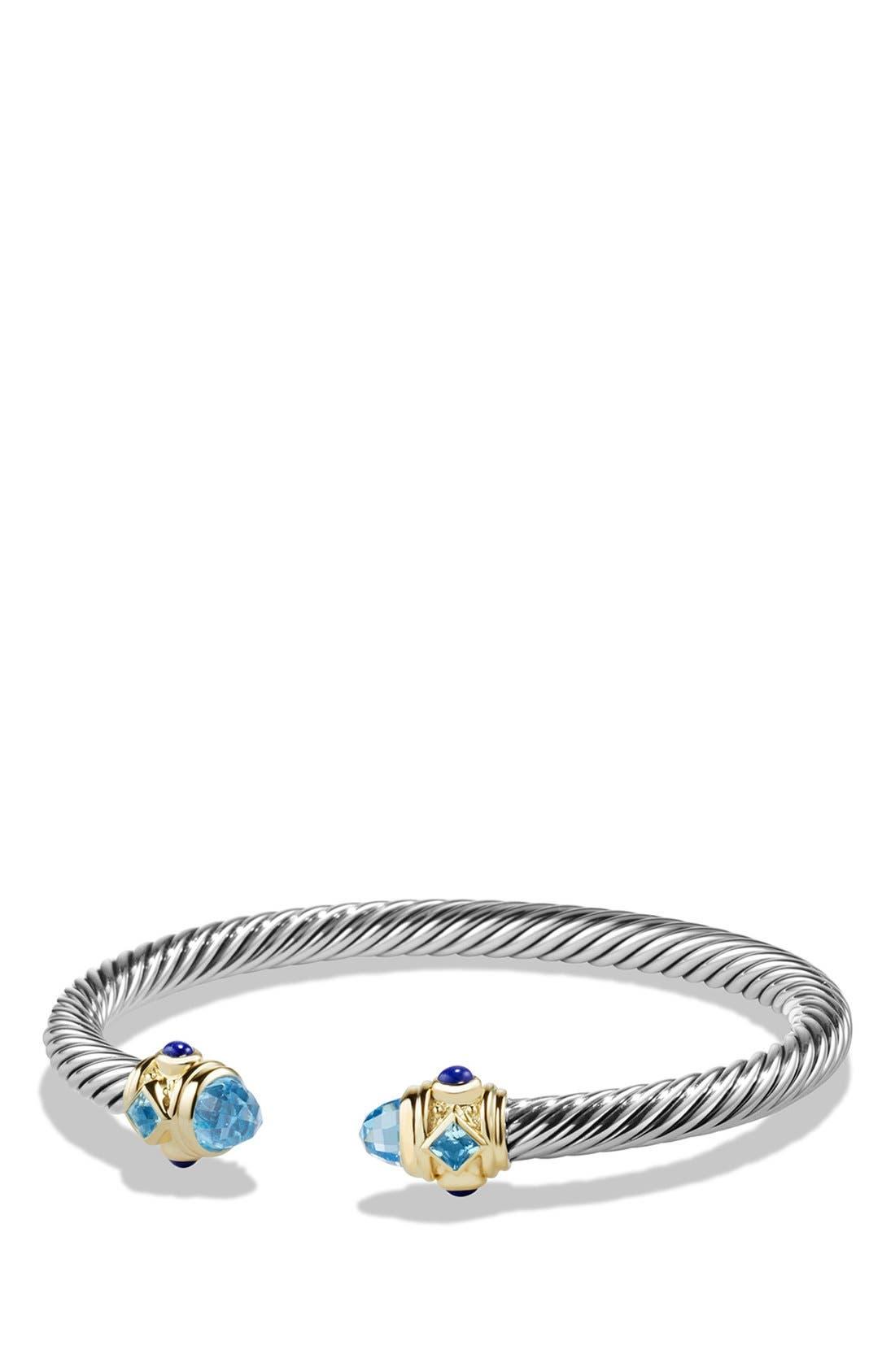 Renaissance Bracelet with Semiprecious Stone & 14k Gold, 5mm,                             Main thumbnail 1, color,                             BLUE TOPAZ