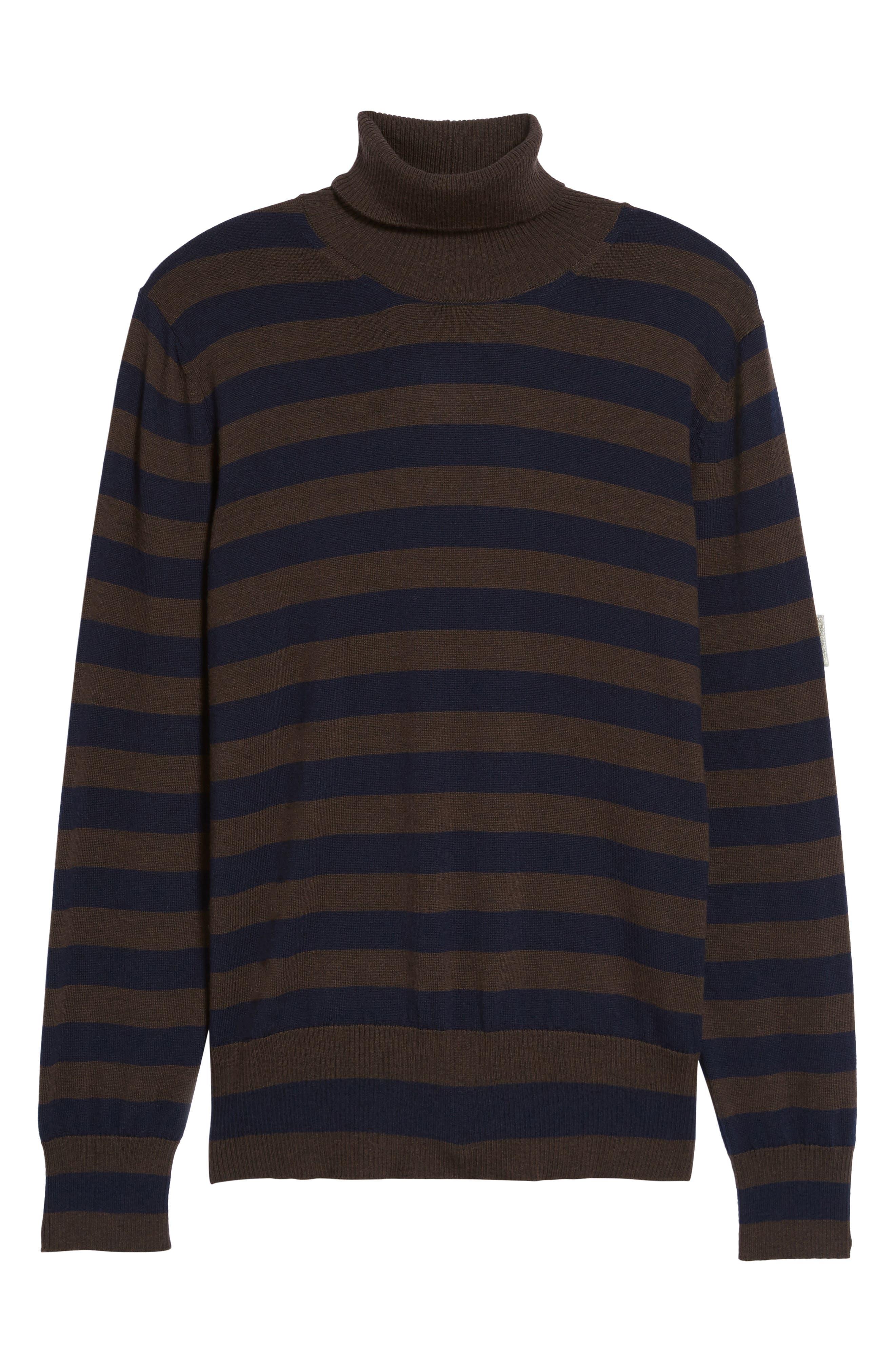 Striped Turtleneck Sweater,                             Alternate thumbnail 6, color,                             204