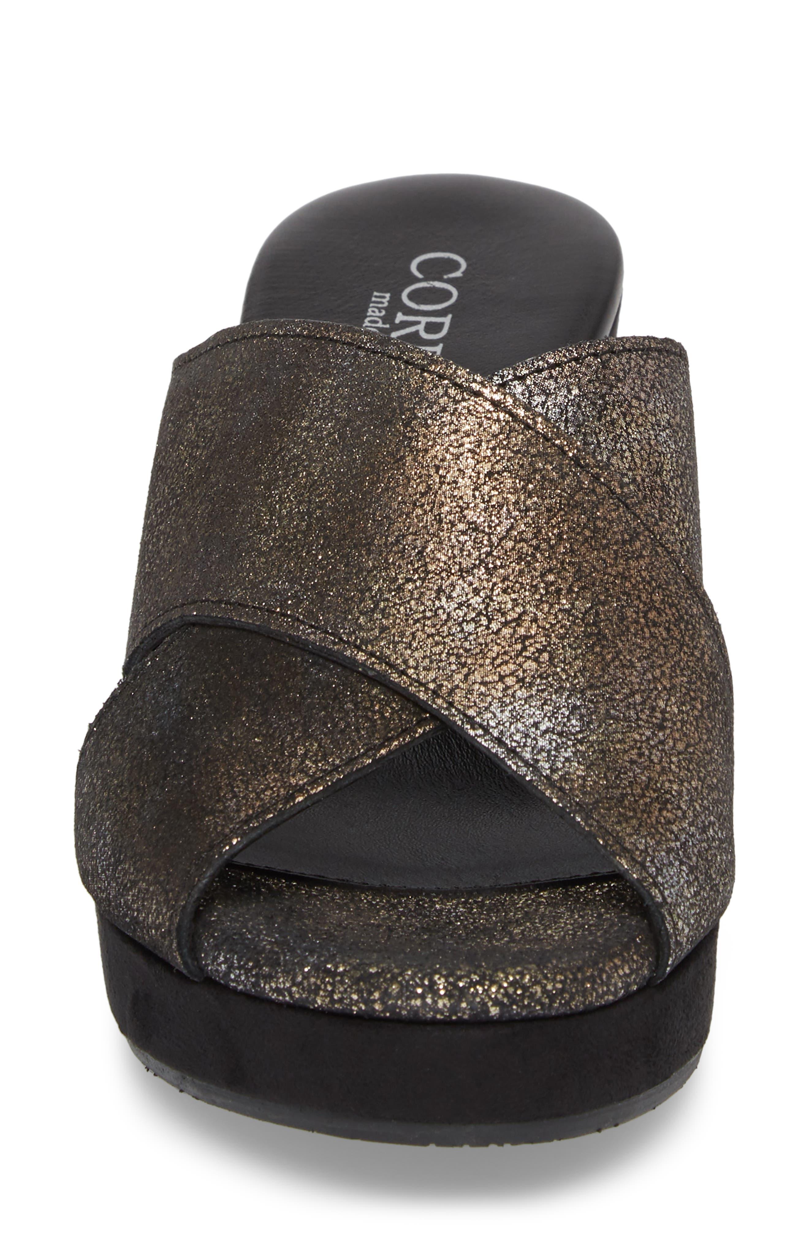 Kimbel Platform Slide Sandal,                             Alternate thumbnail 4, color,                             PEWTER SUEDE