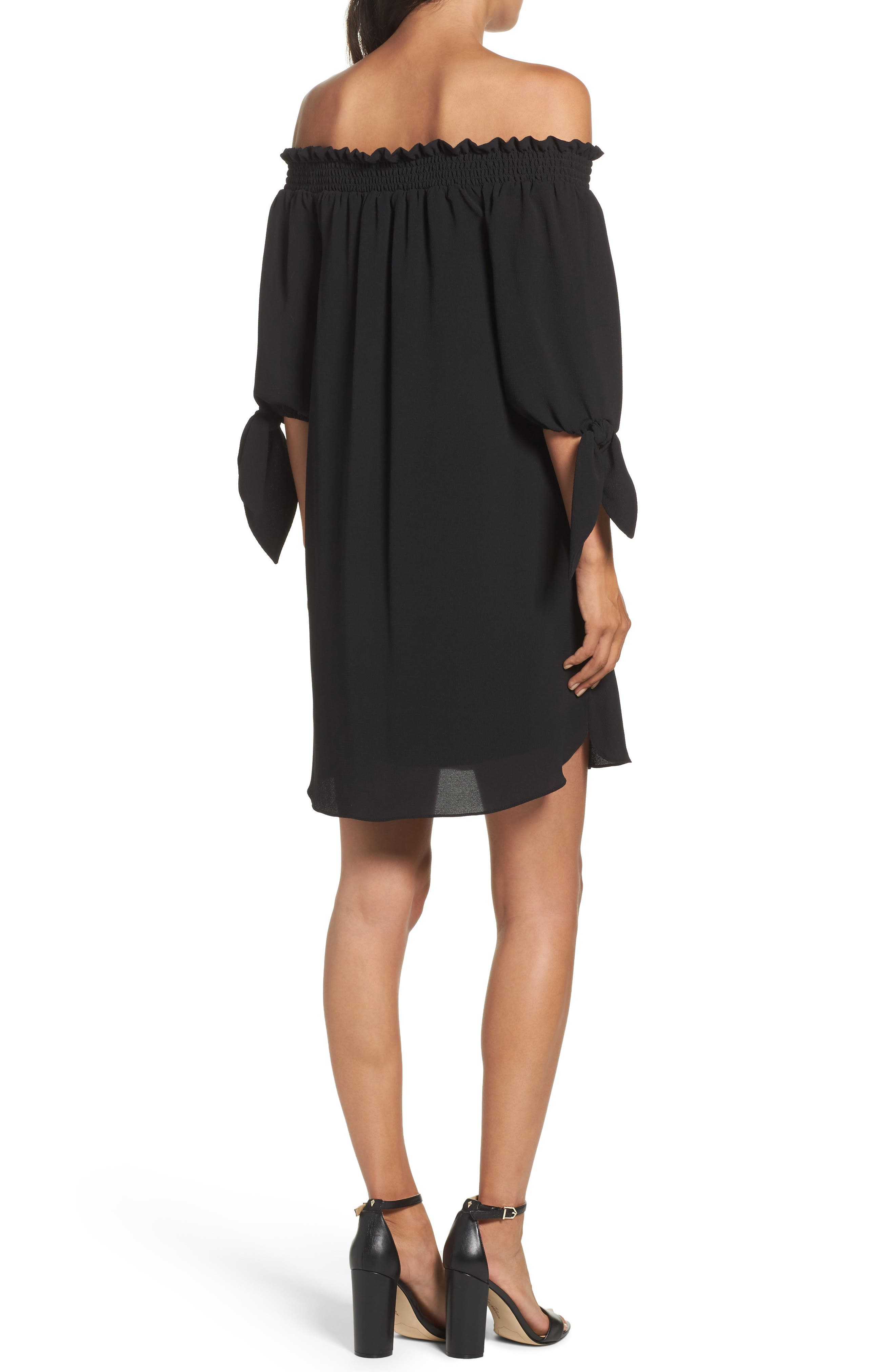 Stretch Crepe Shift Dress,                             Alternate thumbnail 2, color,                             001